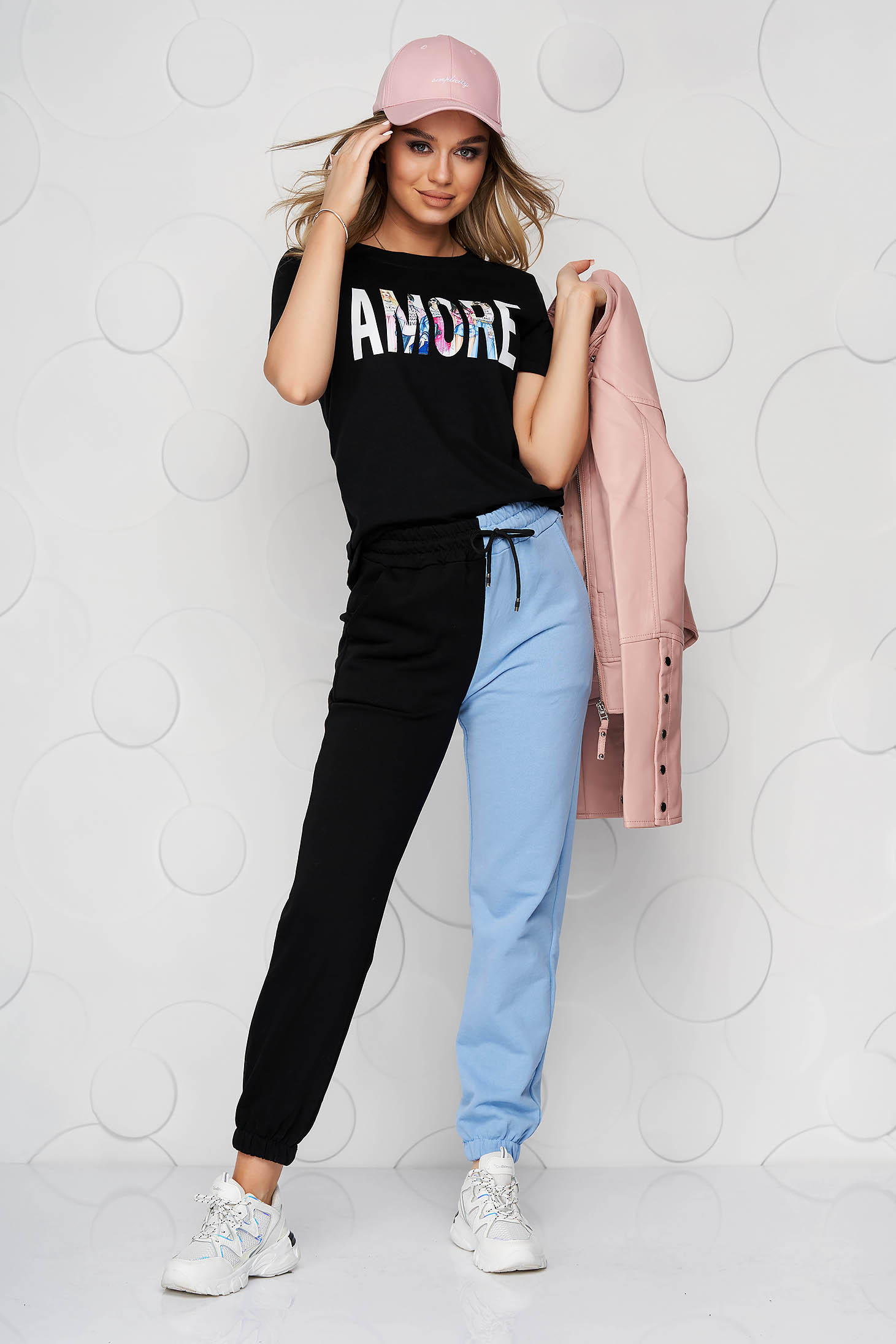 Blue trousers cotton high waisted with elastic waist