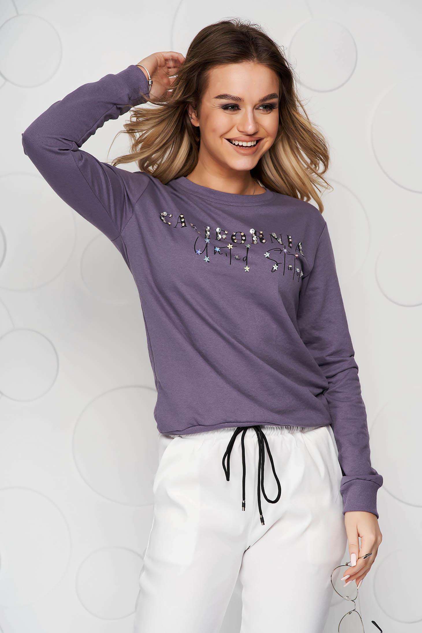 Purple women`s blouse cotton with crystal embellished details loose fit