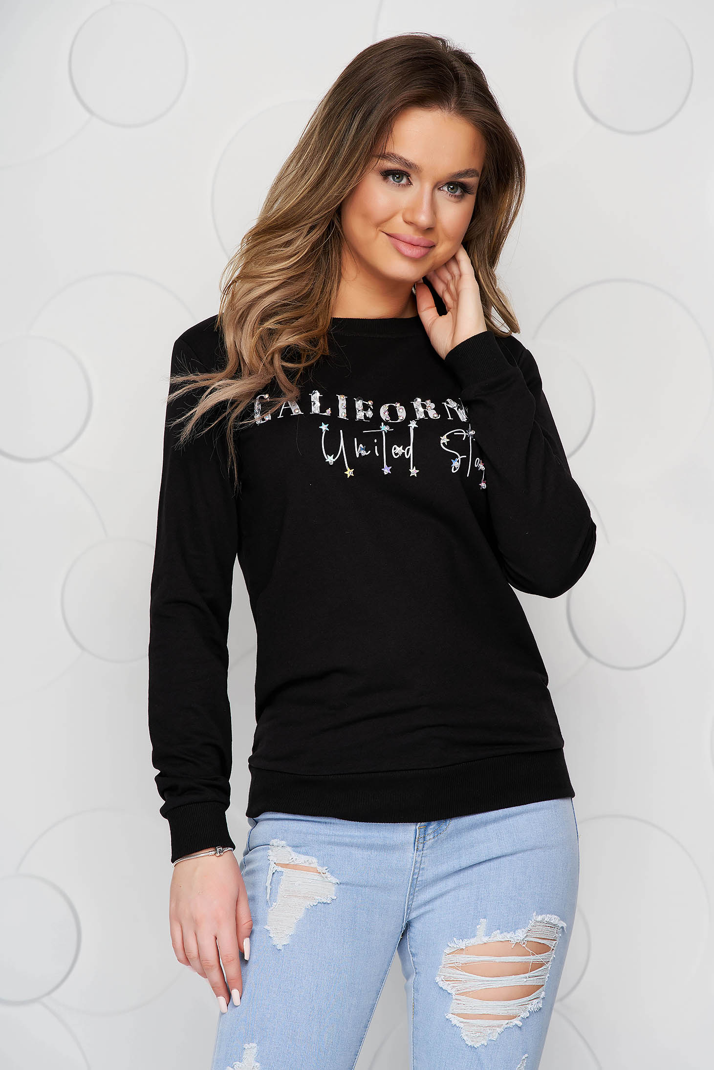 Black women`s blouse cotton with crystal embellished details loose fit