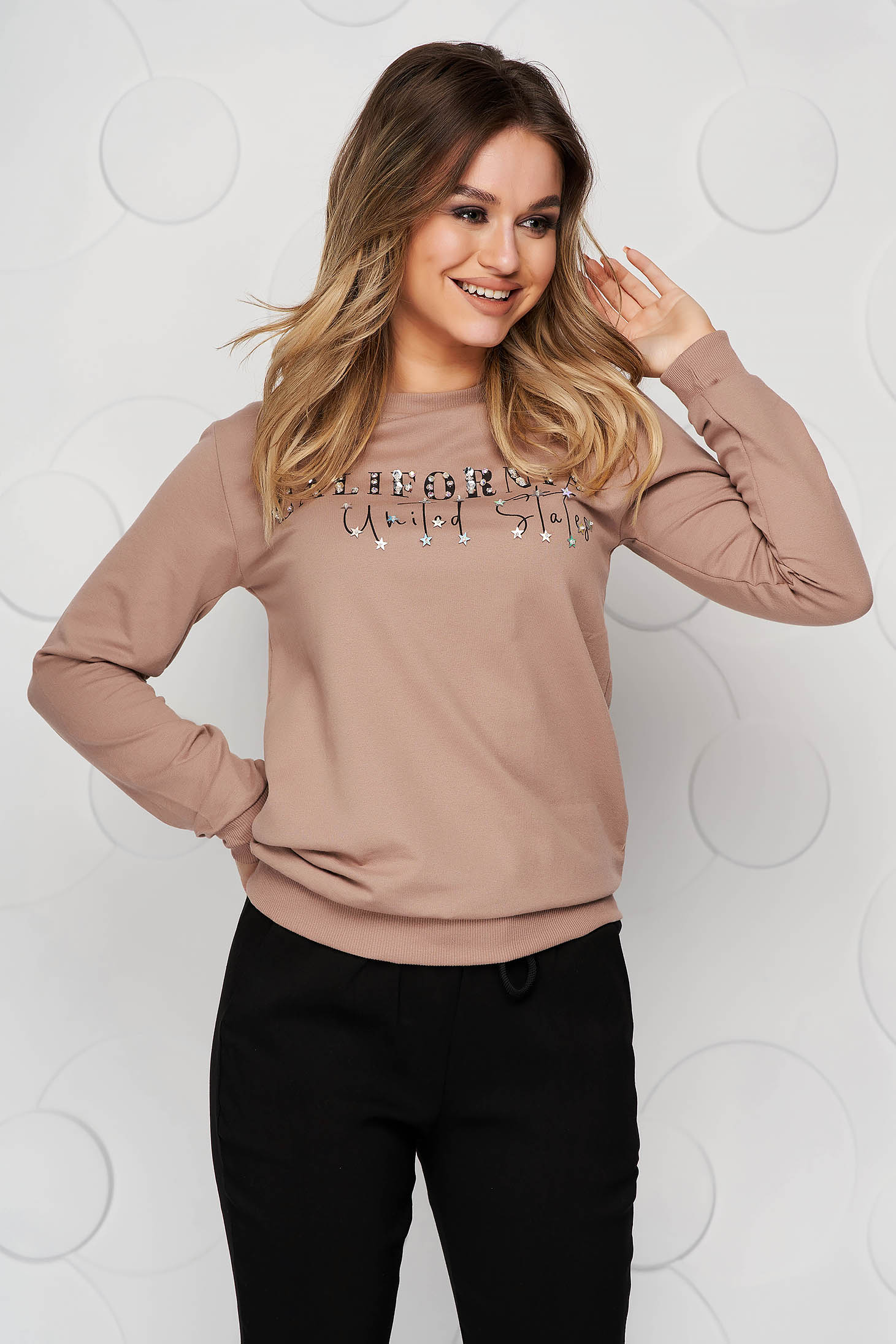 Cappuccino women`s blouse cotton with crystal embellished details loose fit