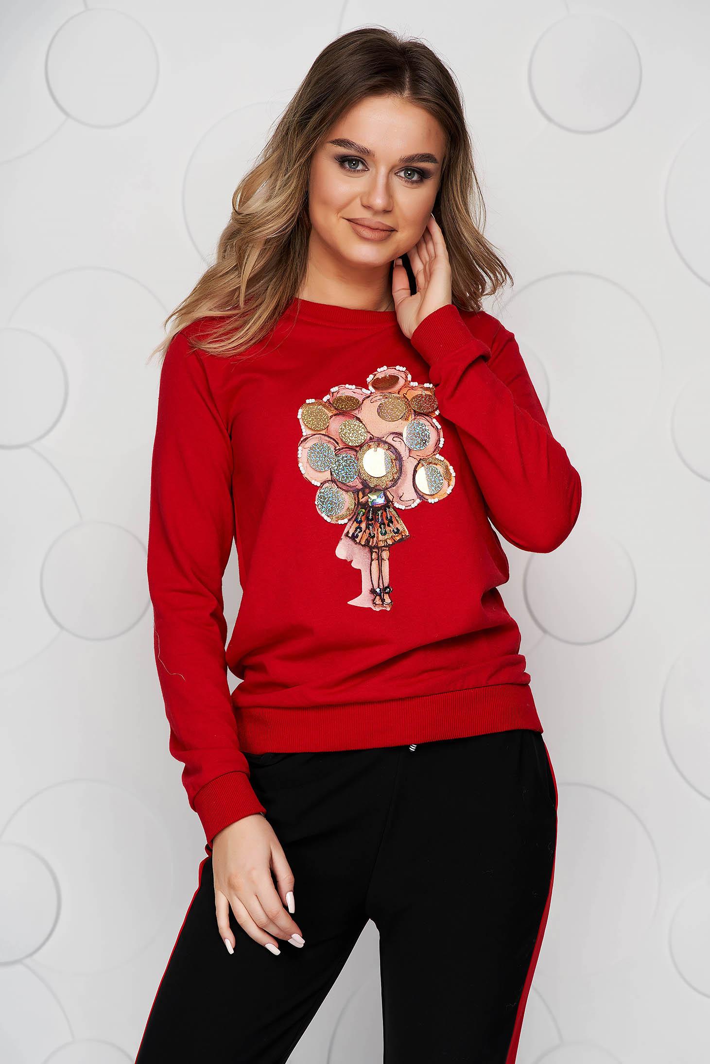 Bluza dama rosie SunShine din bumbac cu imprimeuri grafice si aplicatii cu paiete