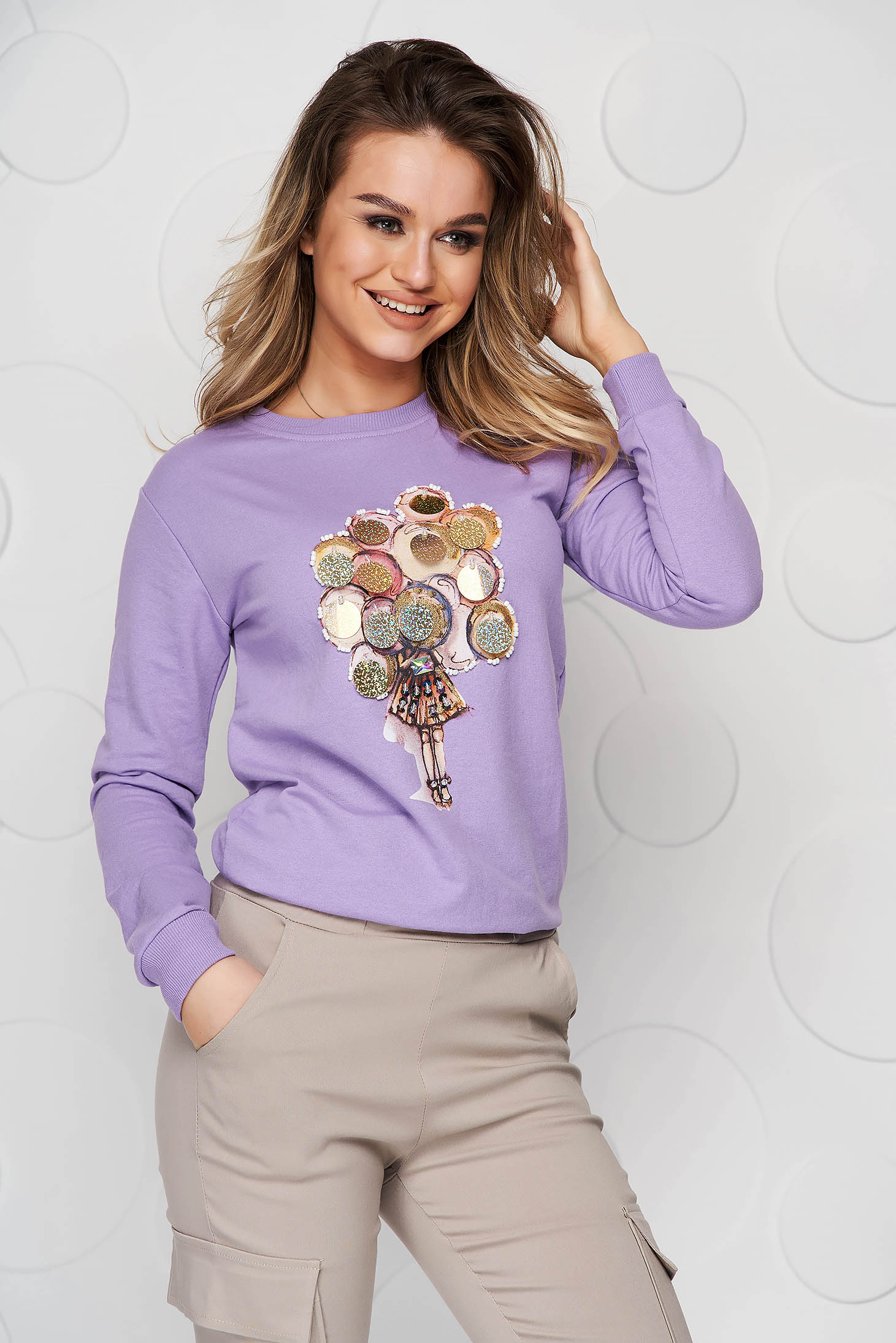 Bluza dama lila SunShine din bumbac cu imprimeuri grafice si aplicatii cu paiete