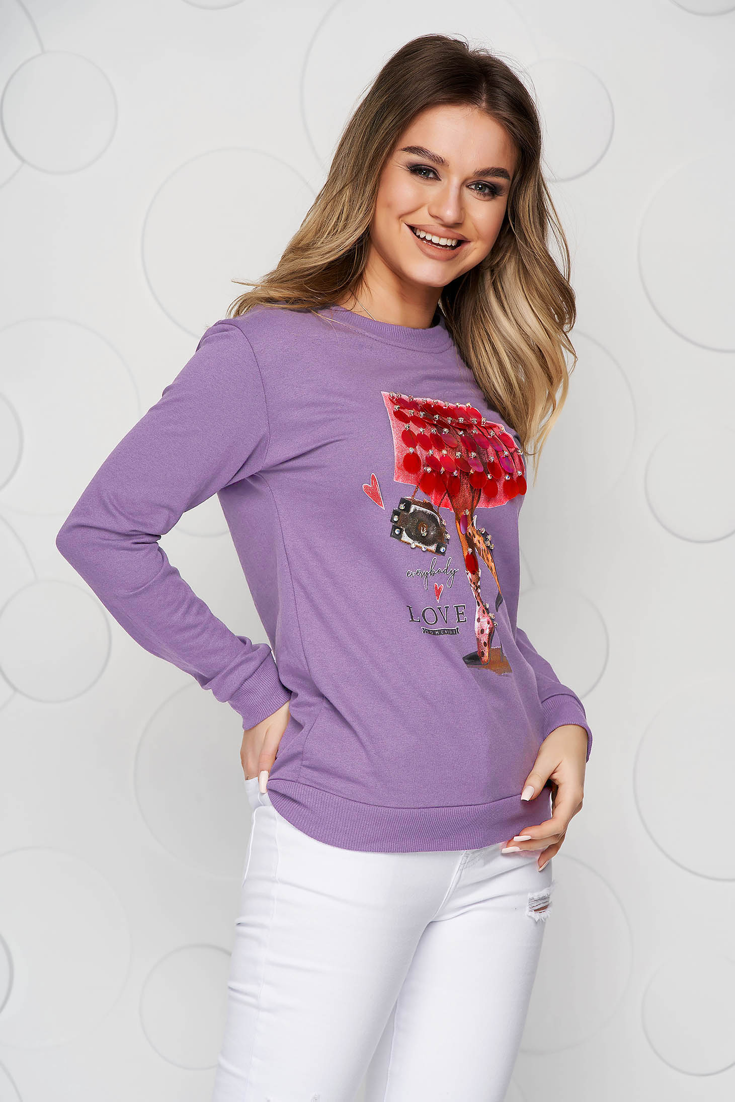 Lila women`s blouse cotton loose fit with sequin embellished details
