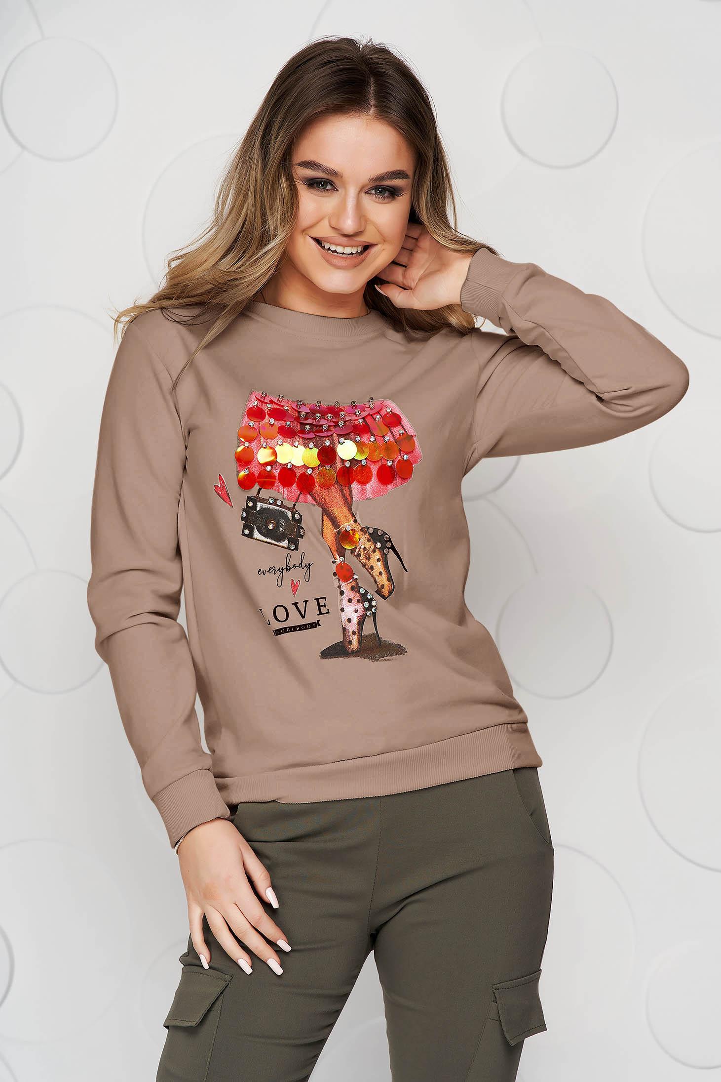 Bluza dama SunShine cappuccino din bumbac cu croi larg si aplicatii cu paiete tip solzi
