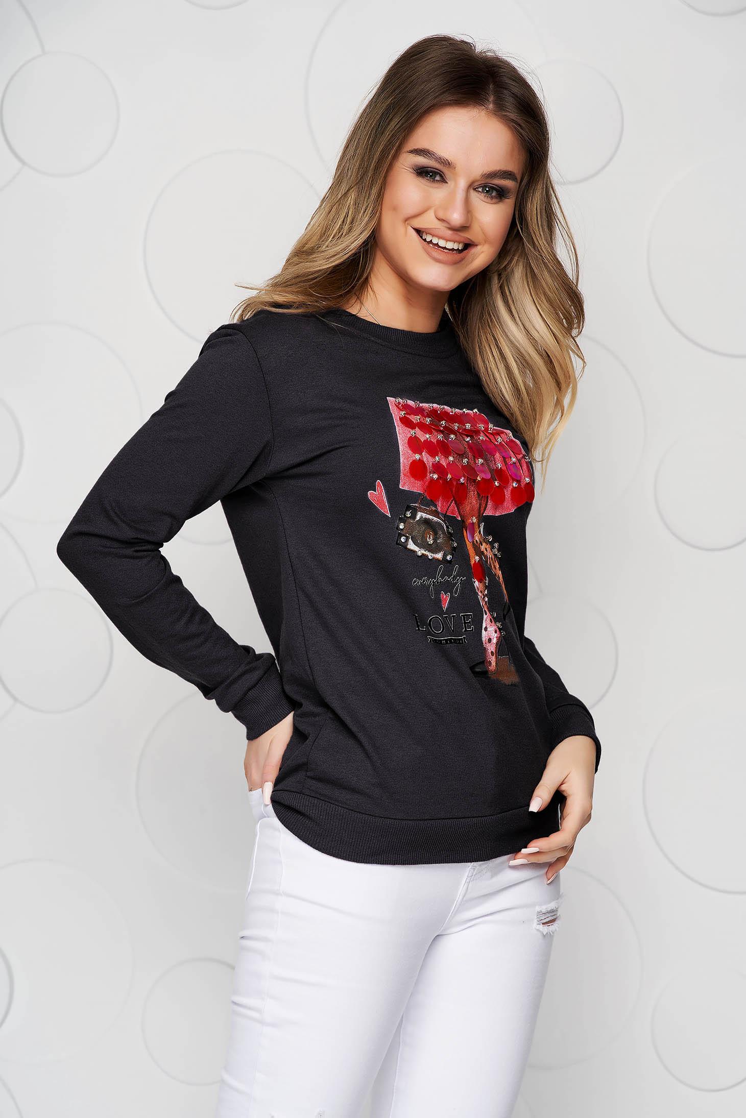 Bluza dama SunShine neagra din bumbac cu croi larg si aplicatii cu paiete tip solzi