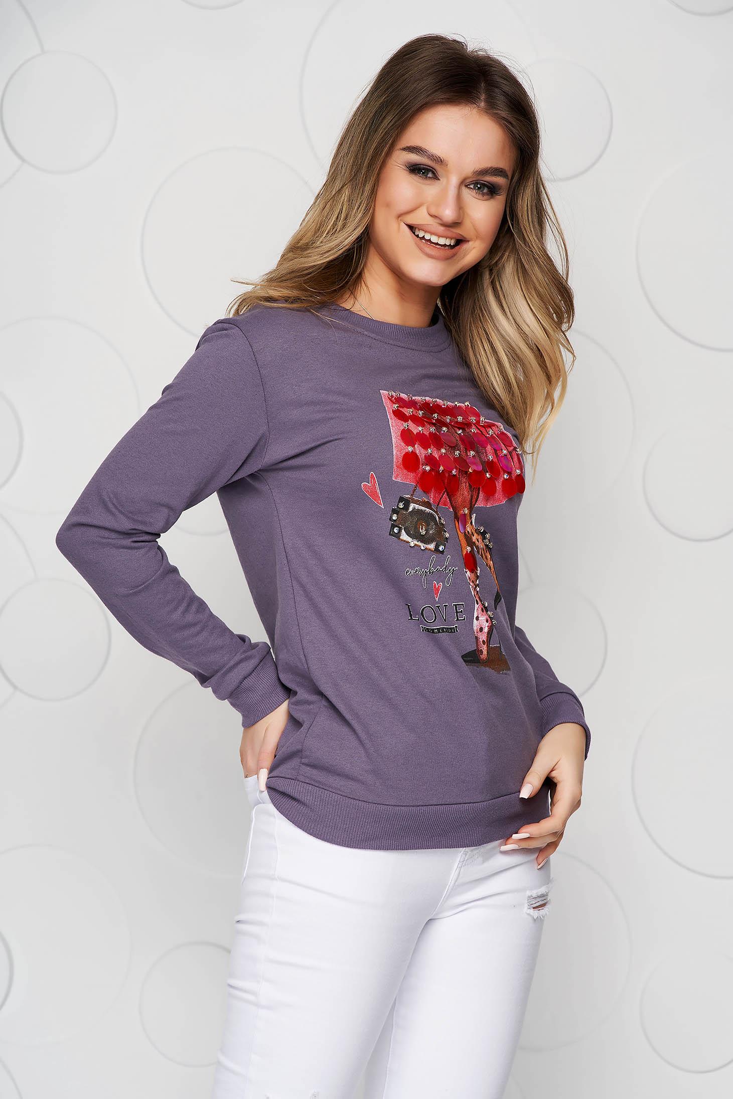 Bluza dama SunShine mov din bumbac cu croi larg si aplicatii cu paiete tip solzi