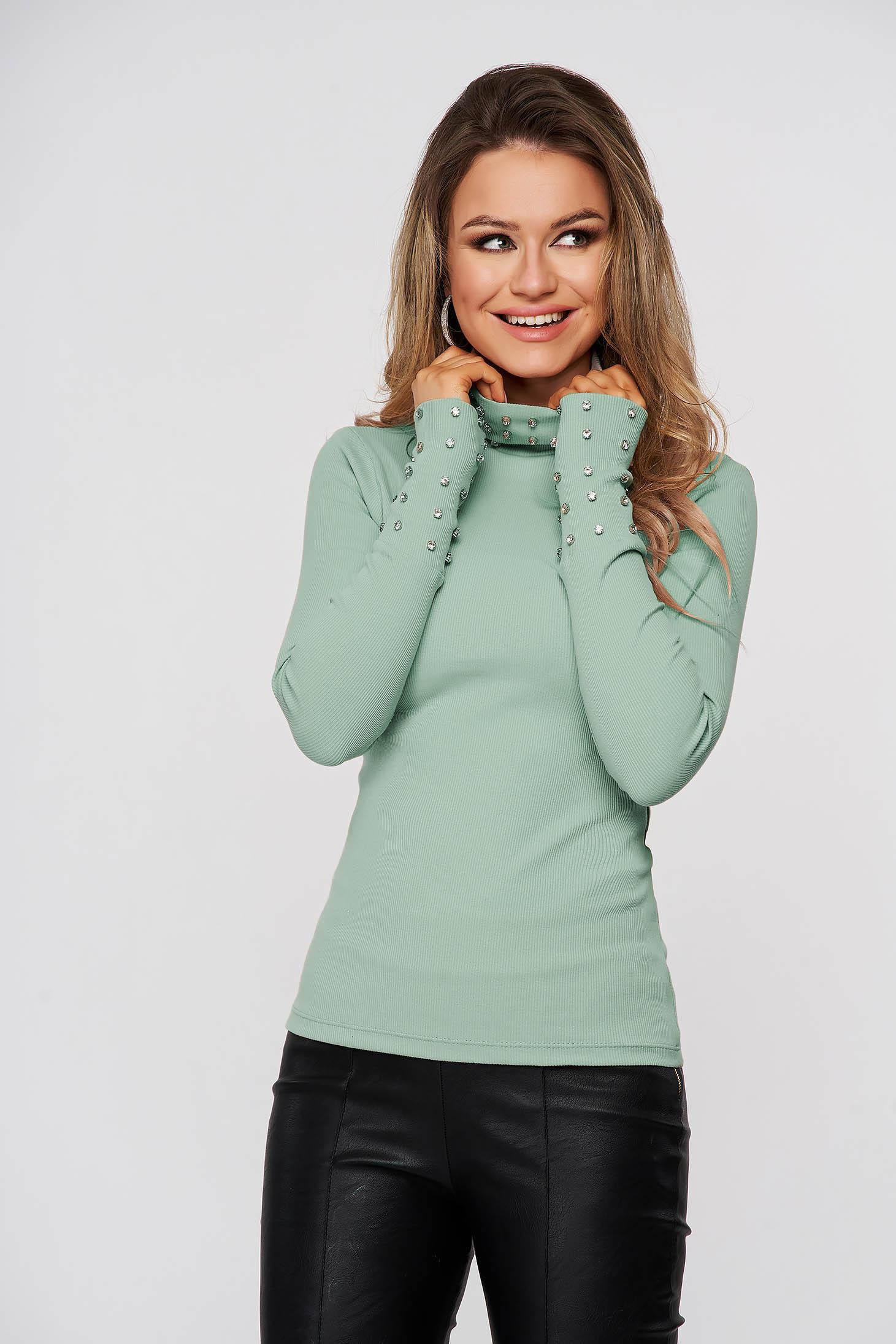 Bluza dama SunShine verde din bumbac din material reiat cu aplicatii cu pietre strass