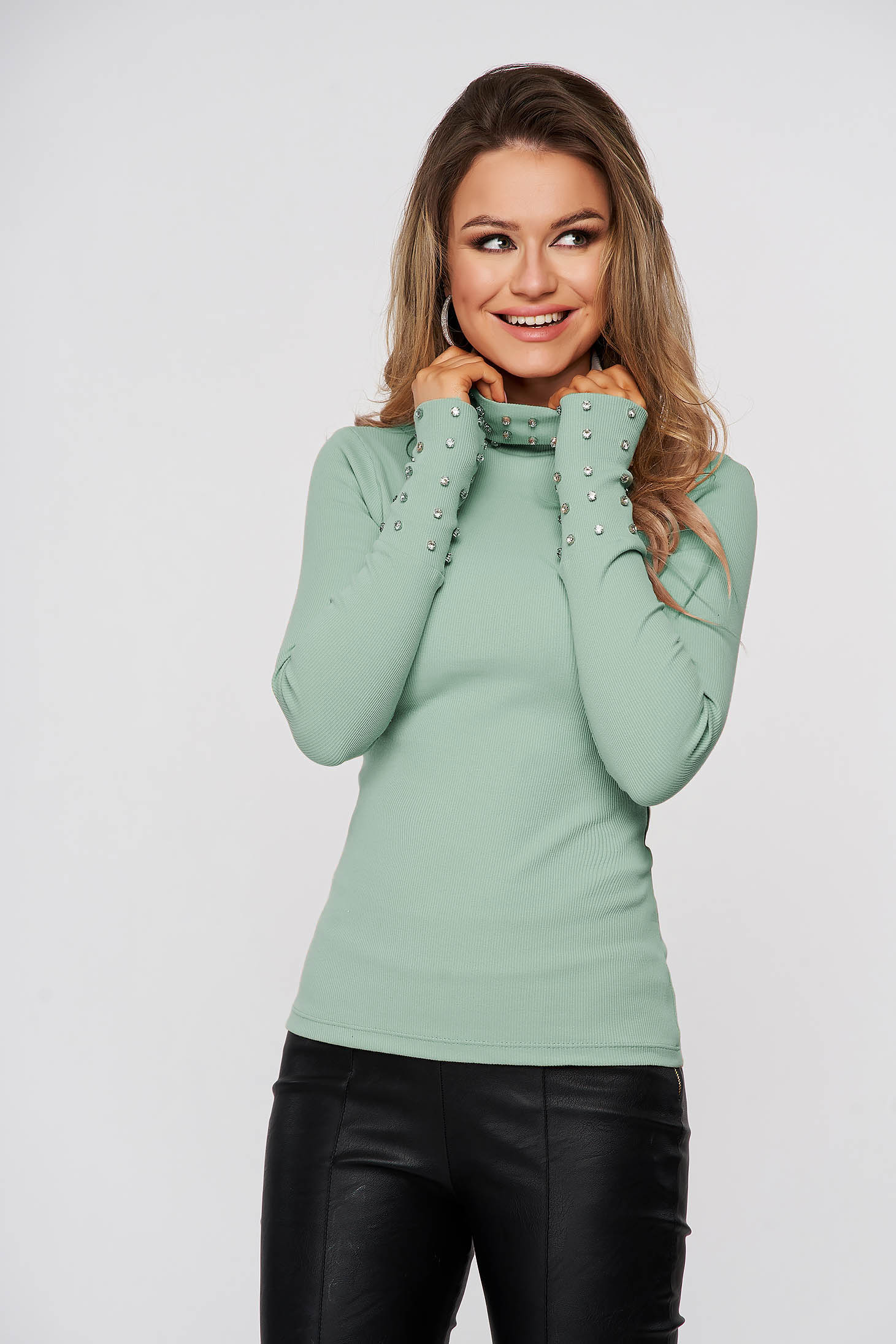Green women`s blouse cotton from striped fabric with crystal embellished details