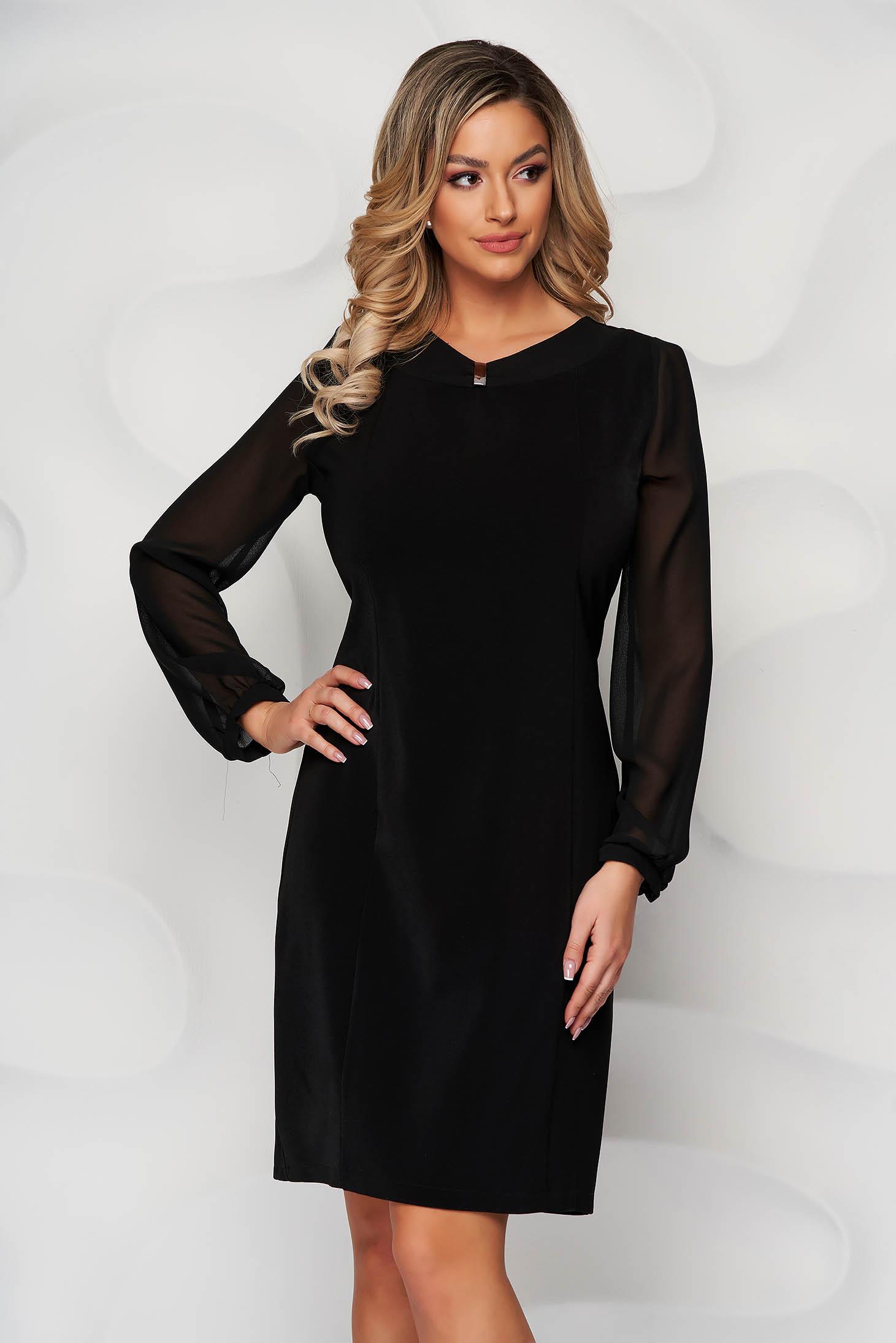 Black dress midi straight transparent sleeves