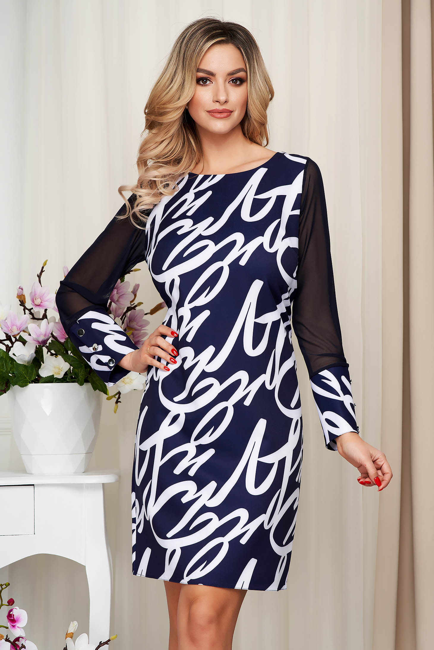 With graphic details office straight transparent sleeves darkblue dress