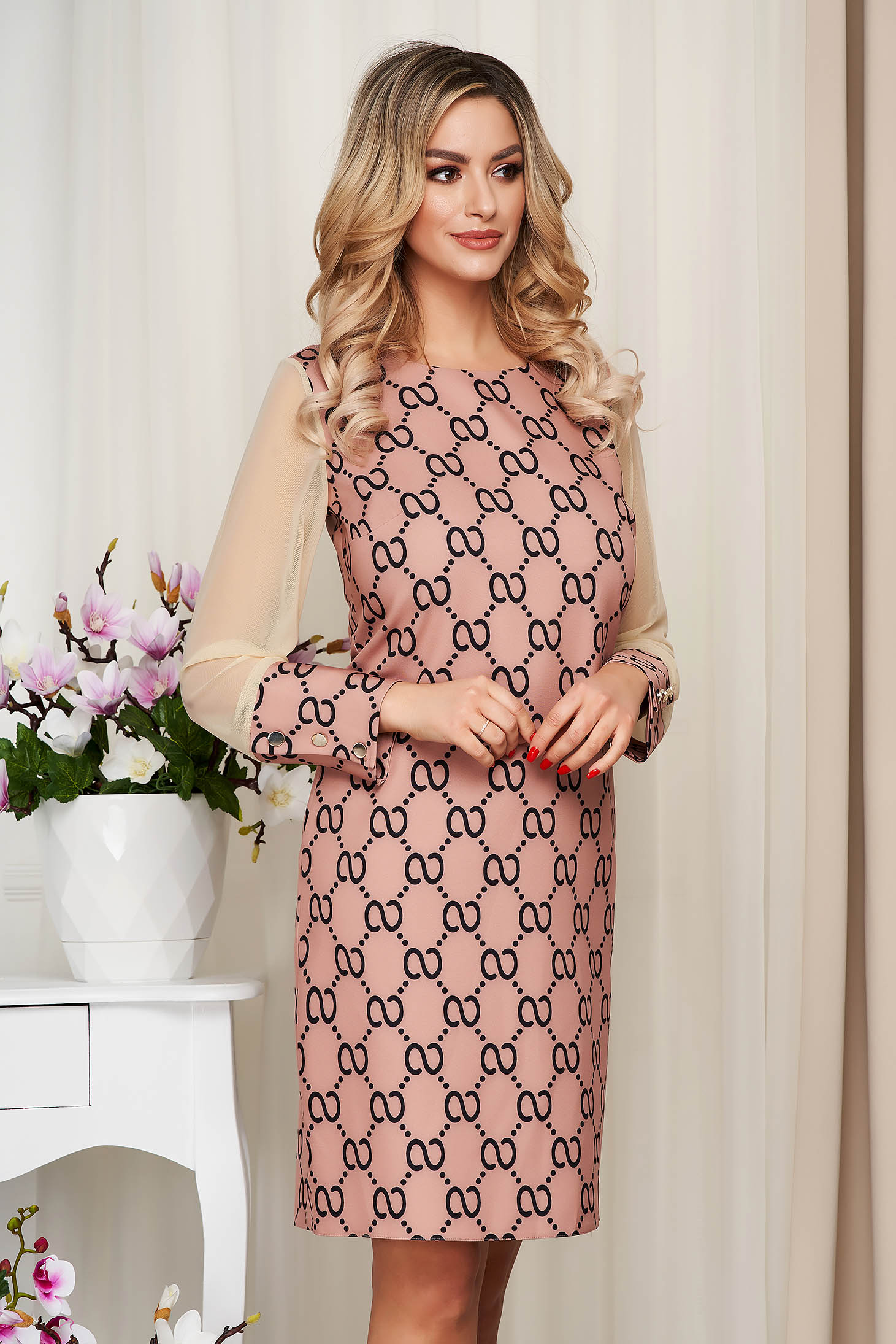 Dress with graphic details brown office transparent sleeves straight