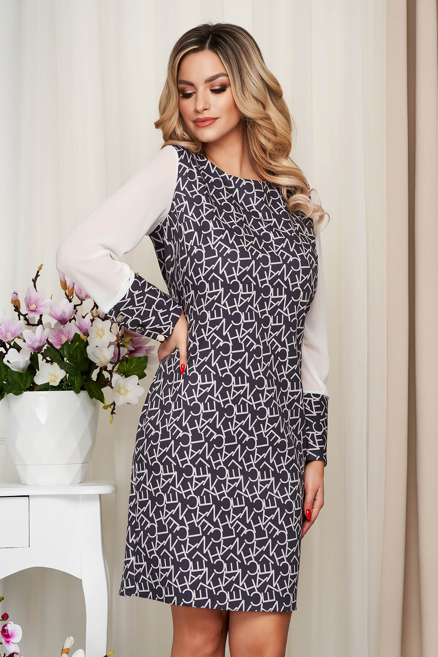 With graphic details office straight transparent sleeves darkgrey dress