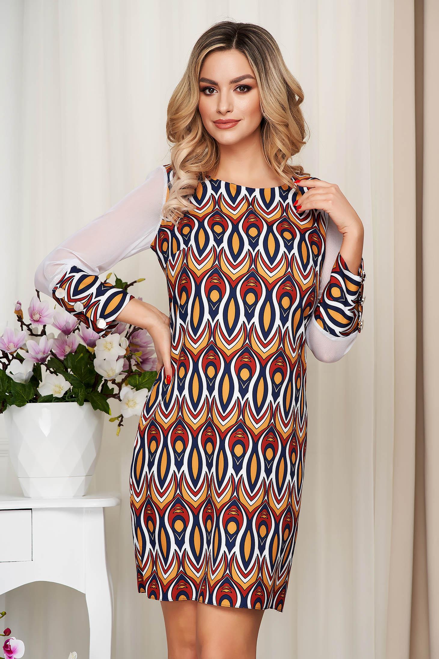 Rochie mustarie cu imprimeuri grafice office cu un croi drept si maneci transparente