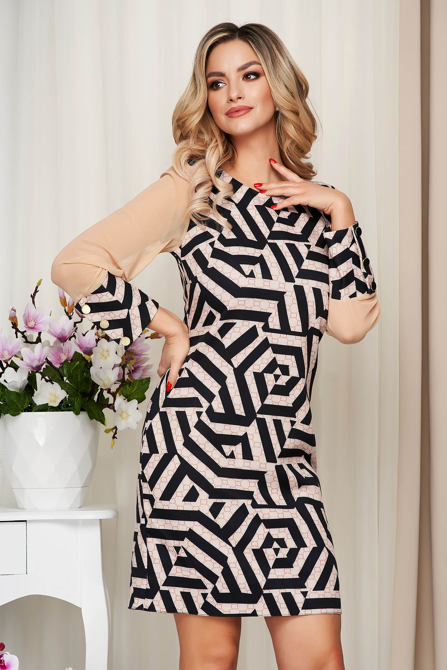 With graphic details office straight transparent sleeves cappuccino dress