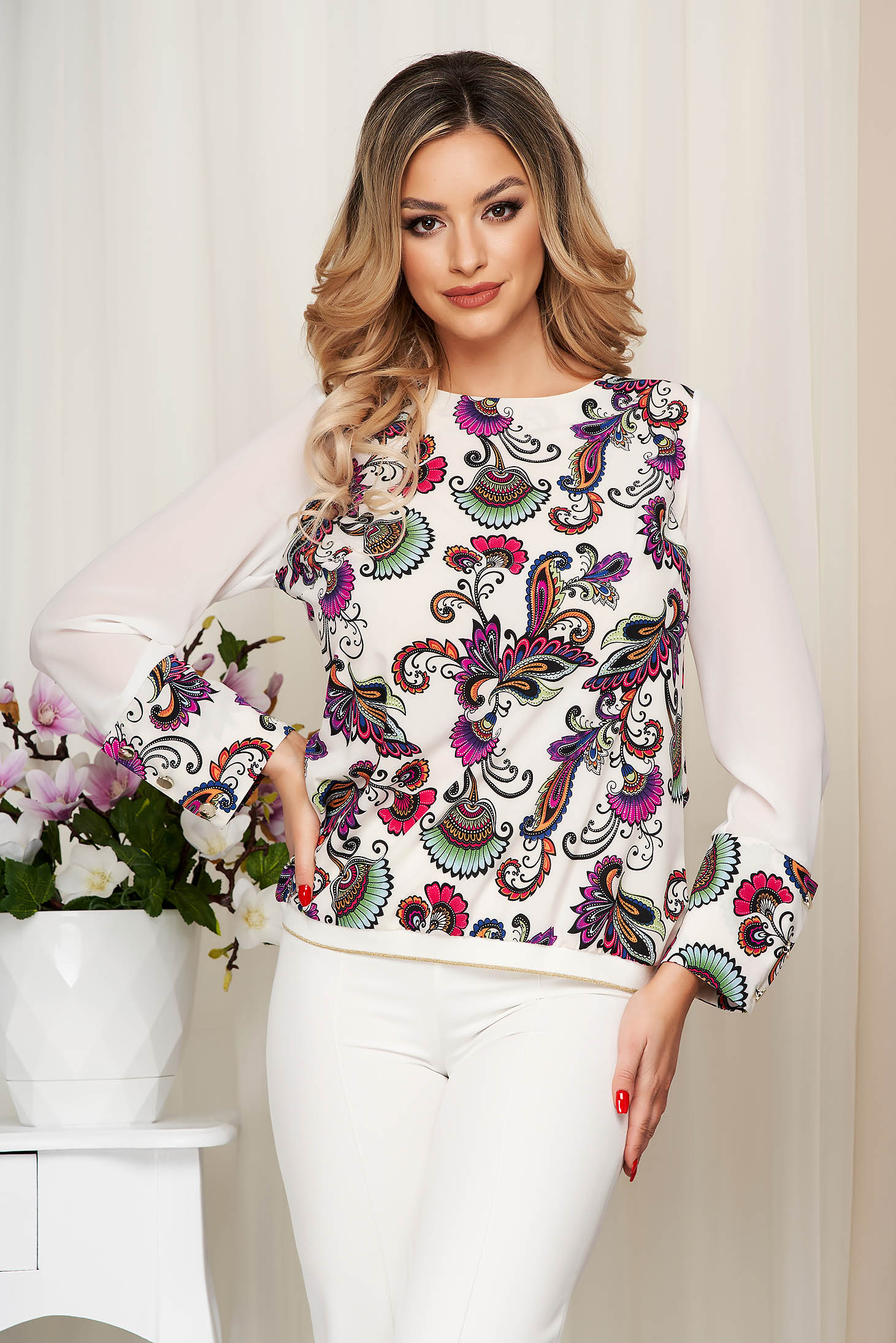 Women`s blouse StarShinerS purple with floral print from elastic fabric transparent sleeves loose fit