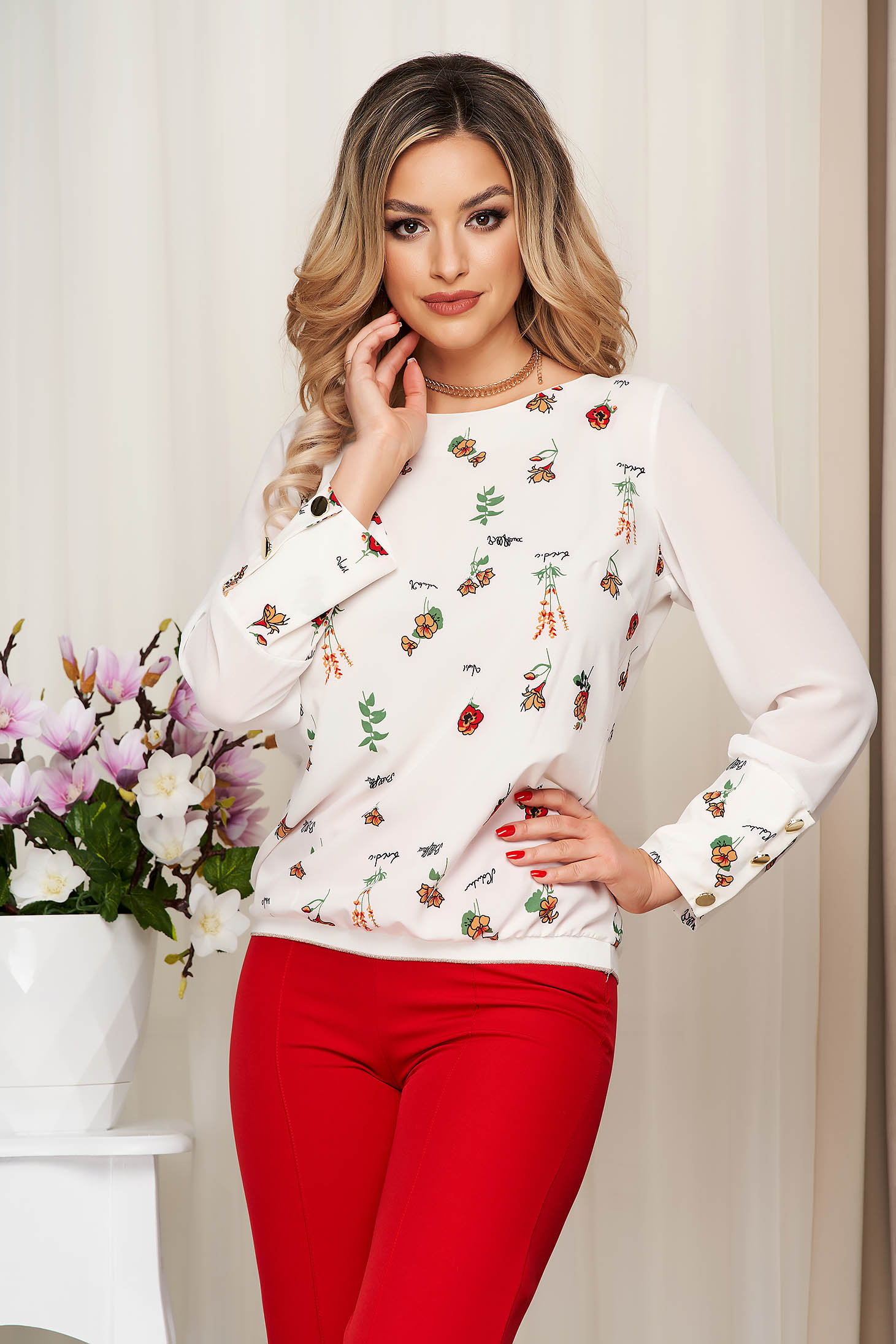 Women`s blouse StarShinerS white with floral print from elastic fabric transparent sleeves loose fit