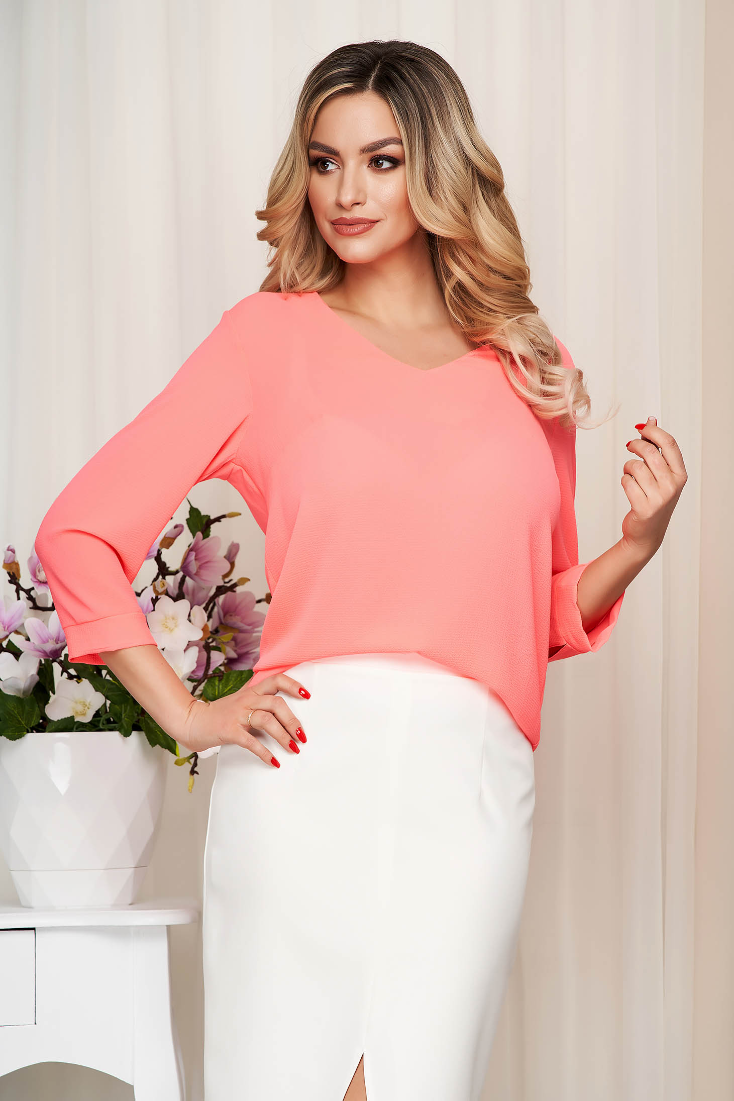 Women`s blouse pink loose fit thin fabric slightly transparent fabric