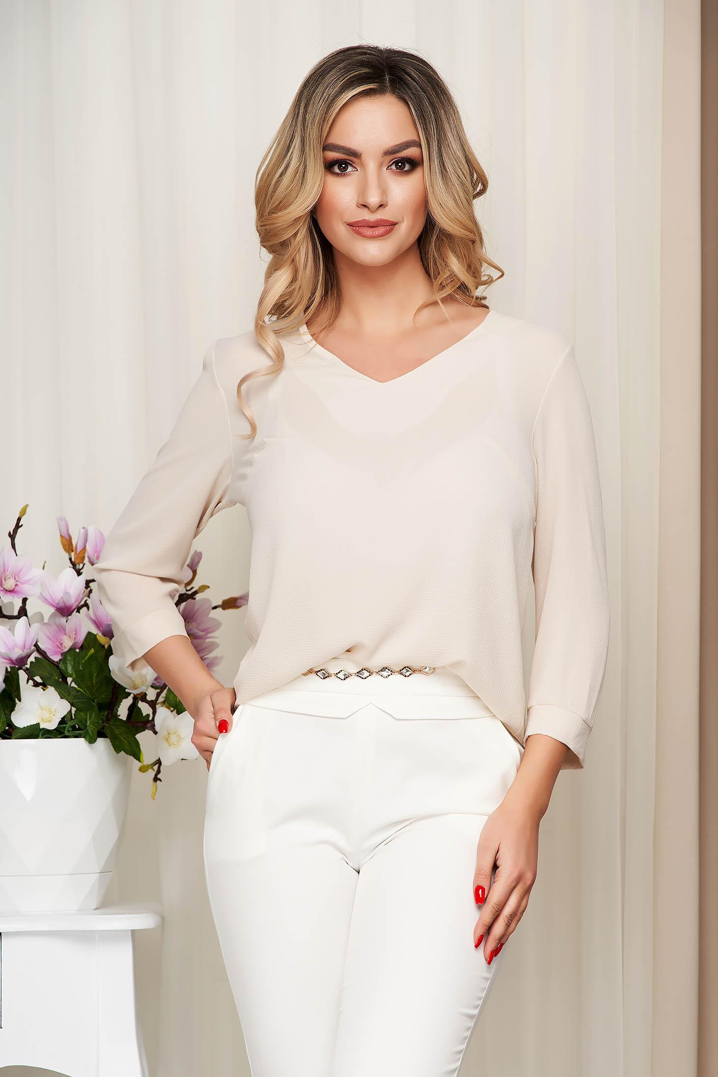 Women`s blouse cream loose fit thin fabric slightly transparent fabric
