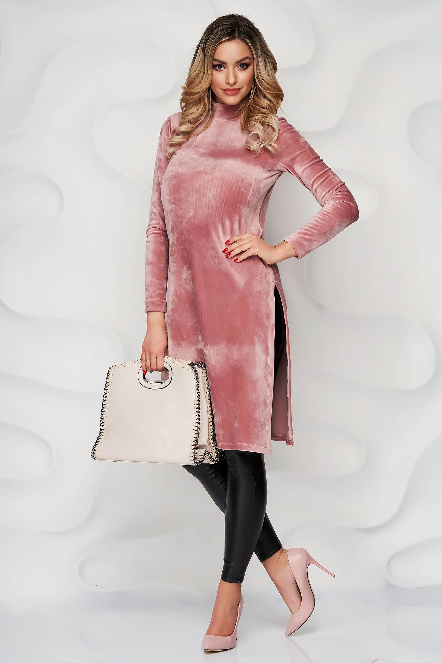 Bluza dama StarShinerS roz prafuit mulata din plus elastic cu slit lateral