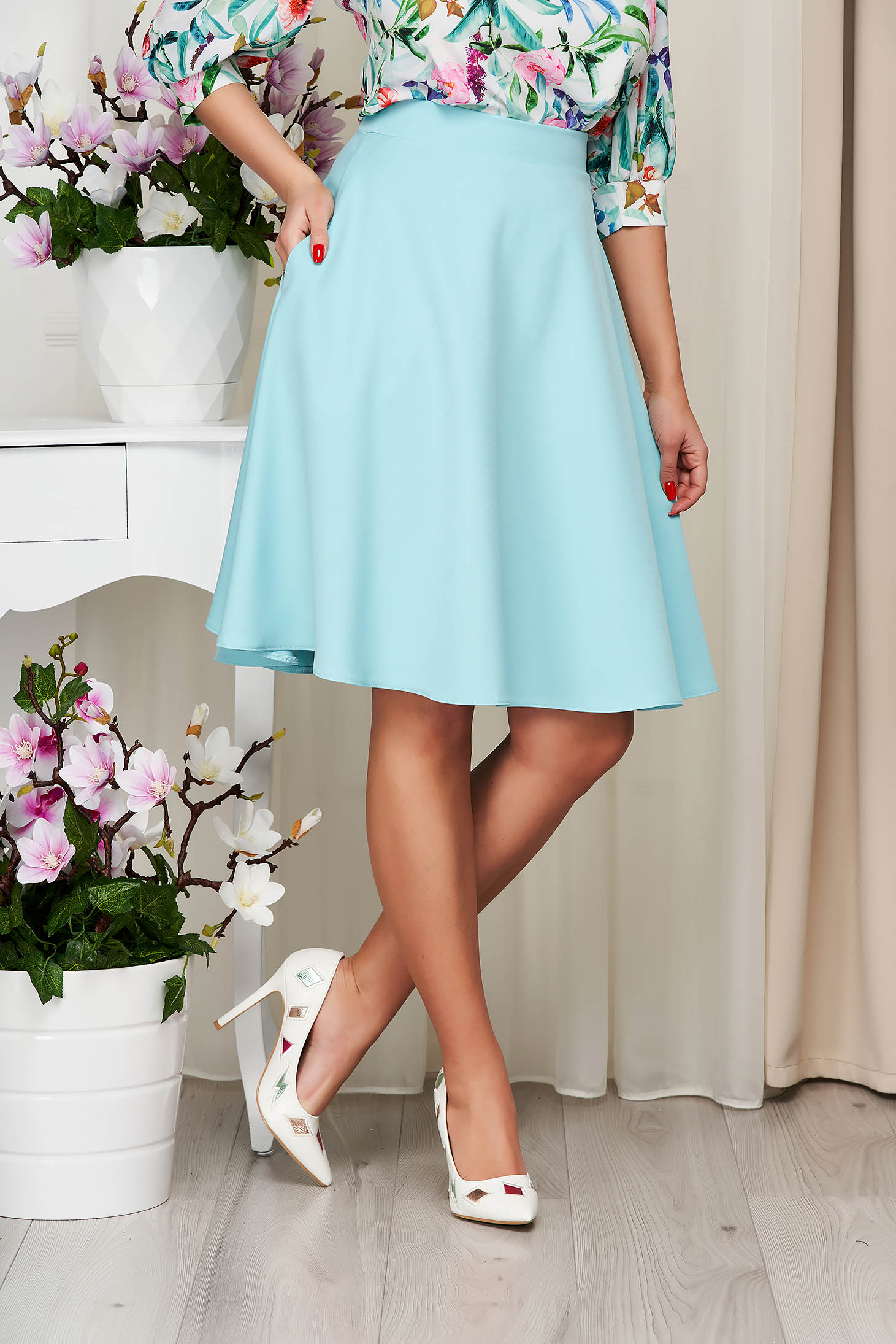 StarShinerS aqua skirt high waisted elegant cloche midi with pockets without clothing