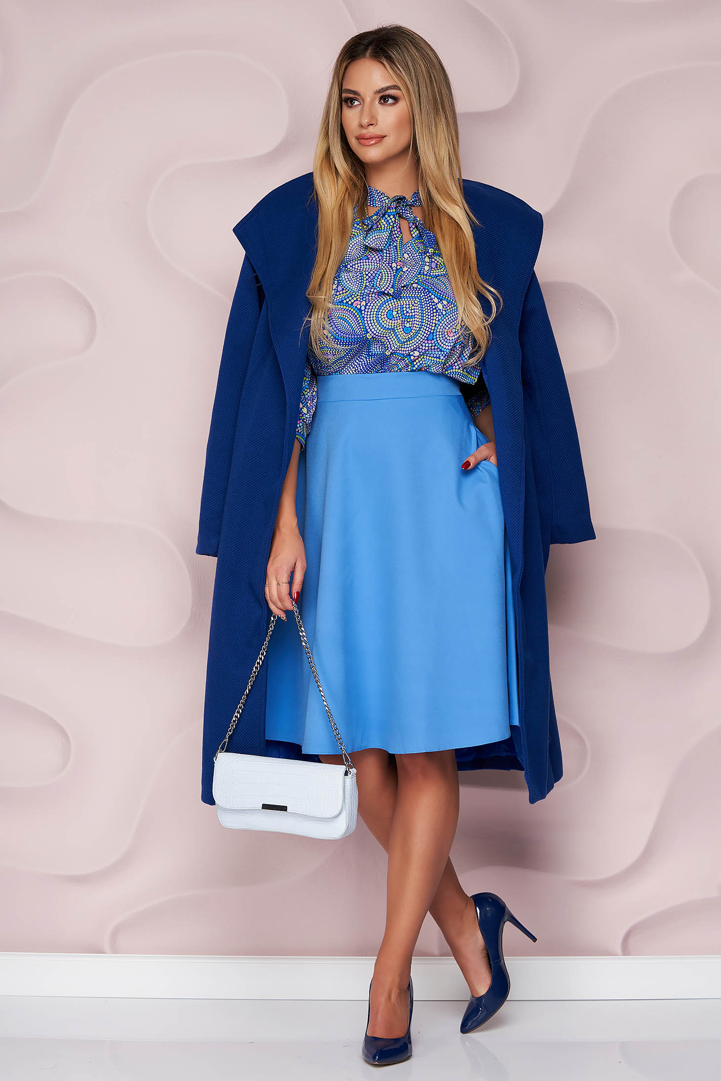 StarShinerS blue skirt high waisted elegant cloche midi with pockets without clothing