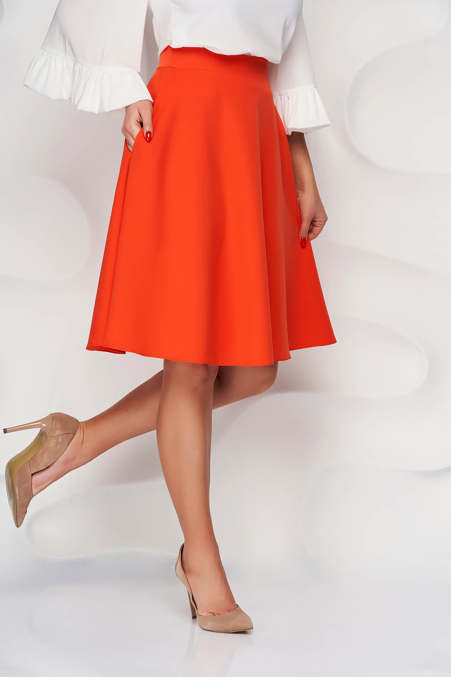 Narancssárga StarShinerS midi elegáns magas derekú harang szoknya zsebekkel és bélés nélkül