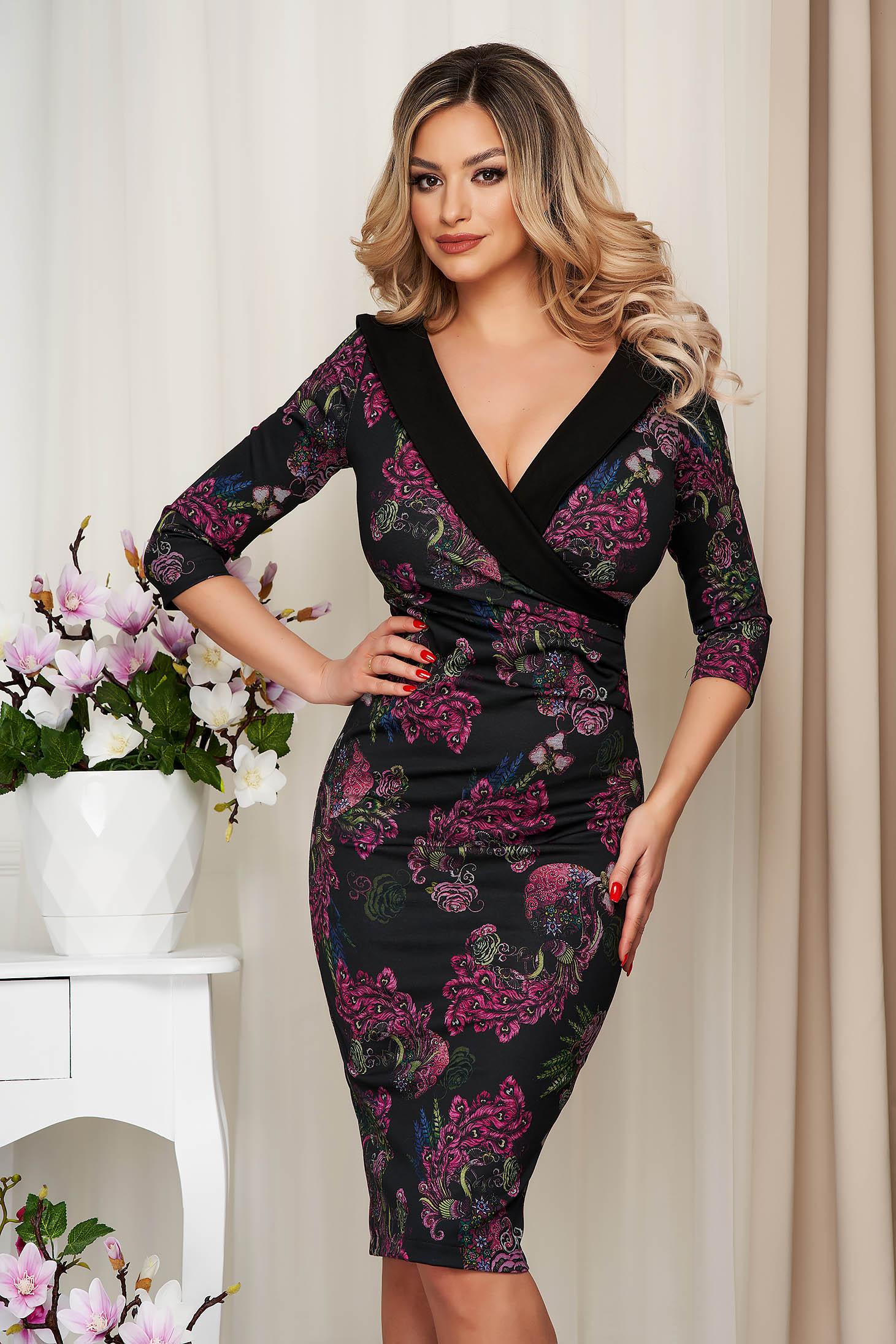 Elegant black dress StarShinerS midi pencil cloth waist pleats