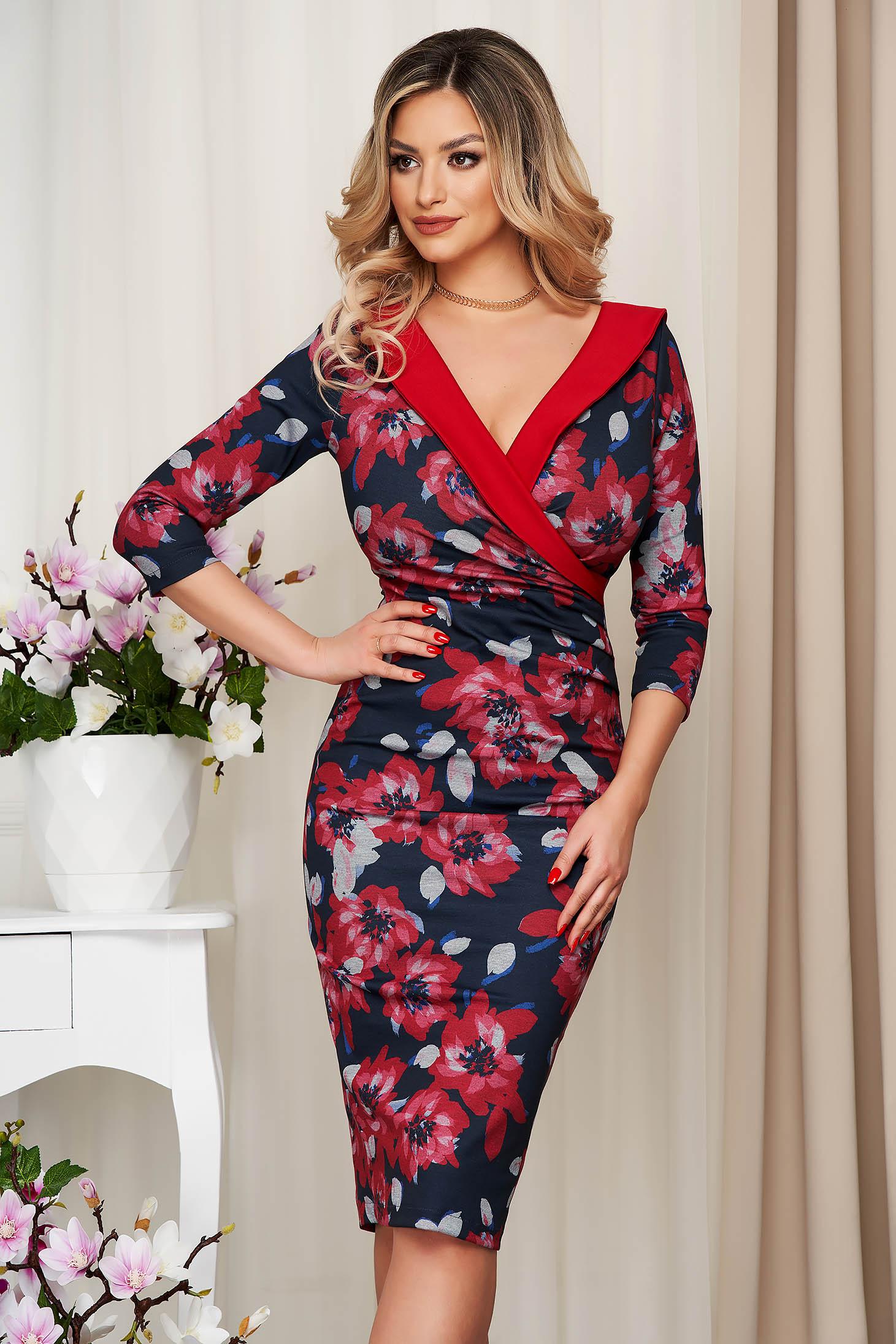 Elegant red dress StarShinerS midi pencil cloth waist pleats