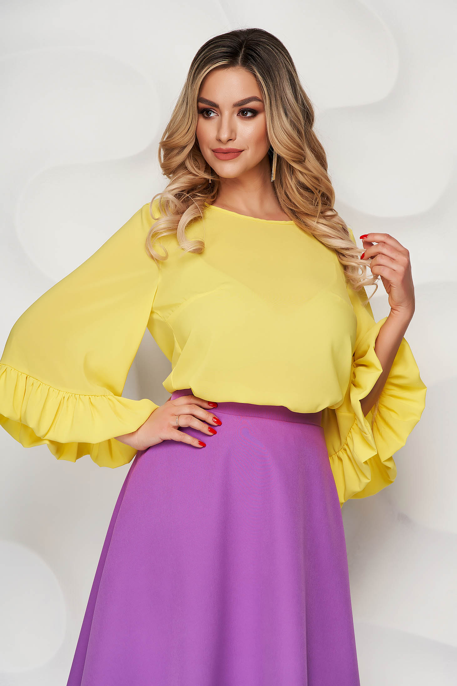 StarShinerS yellow airy fabric women`s blouse with easy cut