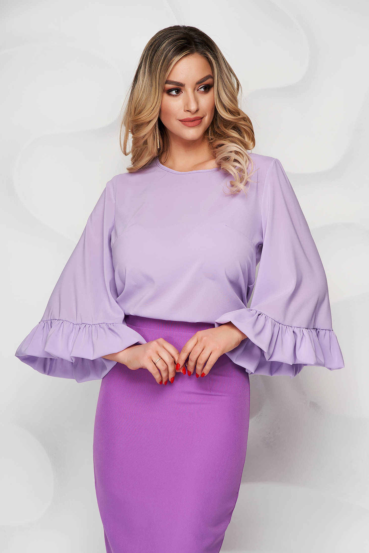 StarShinerS lila airy fabric women`s blouse with easy cut
