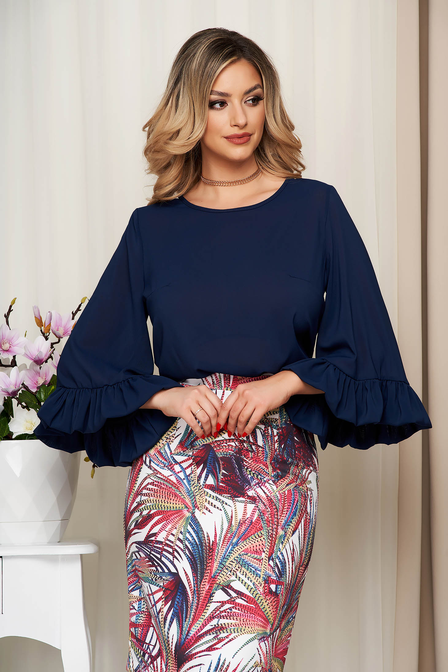 StarShinerS darkblue airy fabric women`s blouse with easy cut