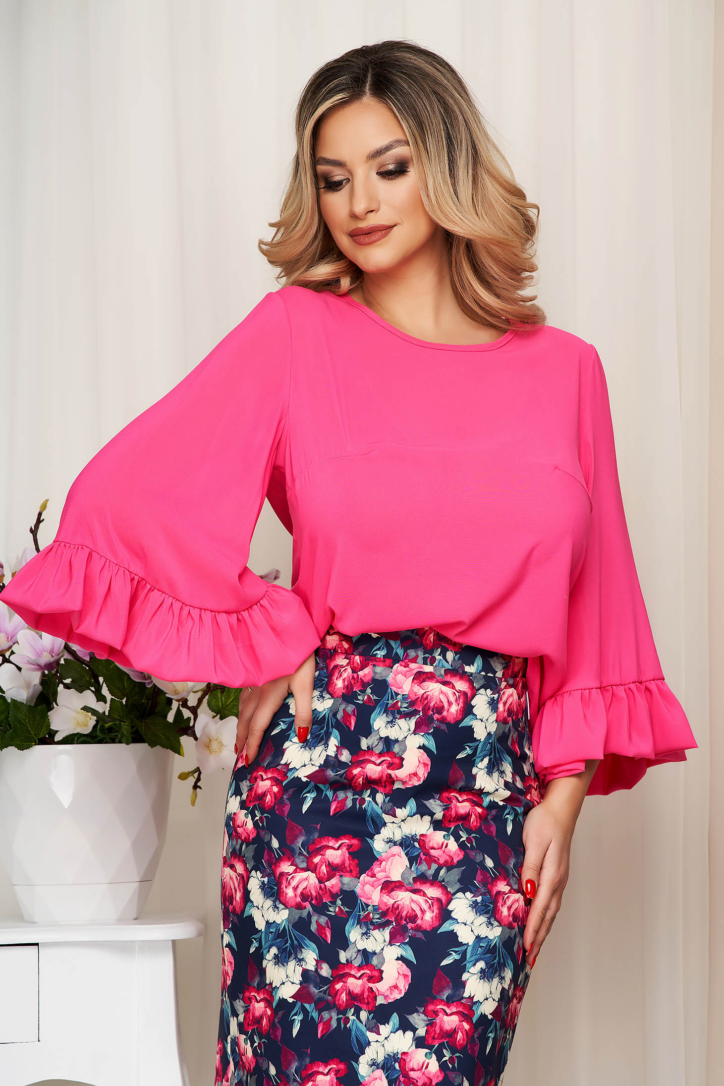 StarShinerS fuchsia airy fabric women`s blouse with easy cut