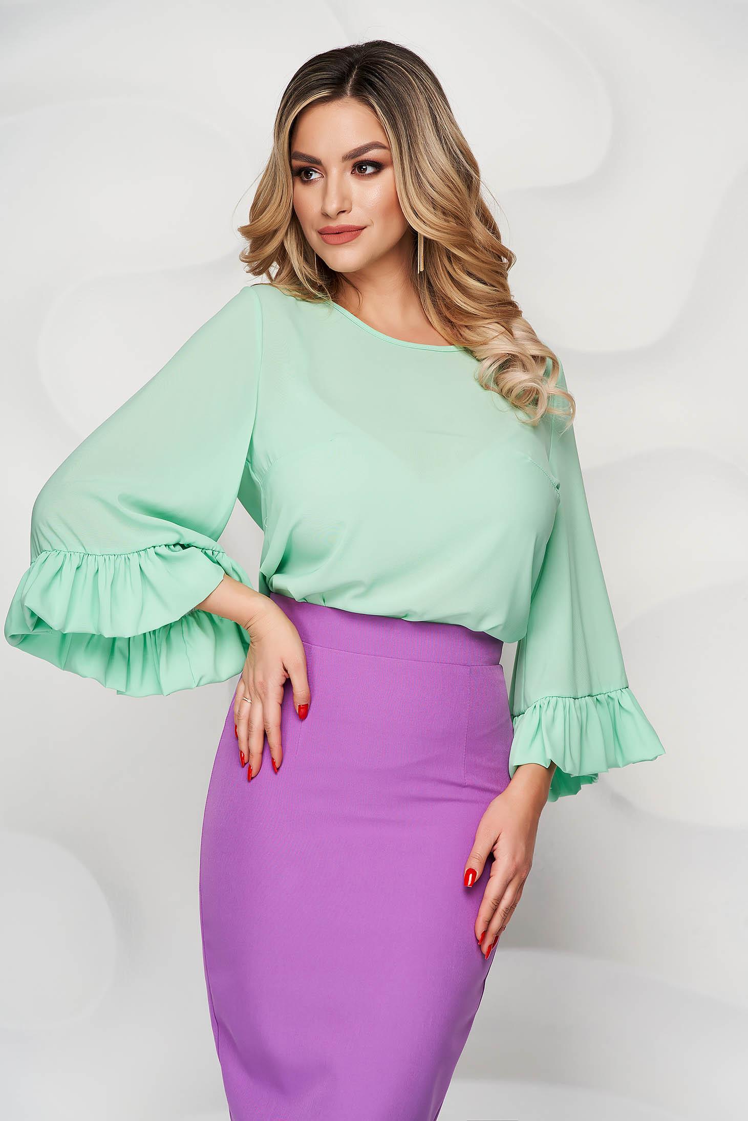 Bluza dama StarShinerS mint scurta din voal usor elastic cu croi larg