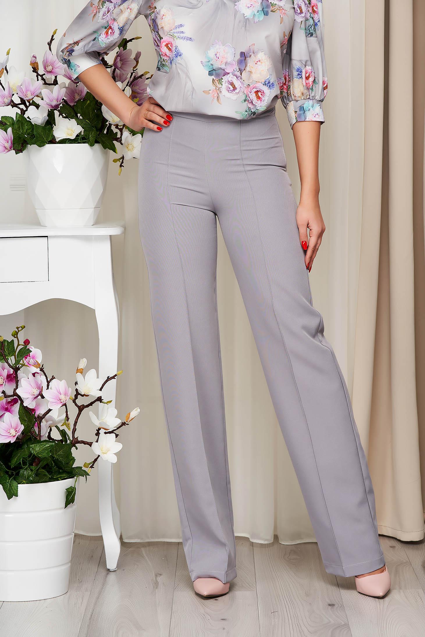 Pantaloni StarShinerS gri eleganti lunga evazati din stofa din material elastic