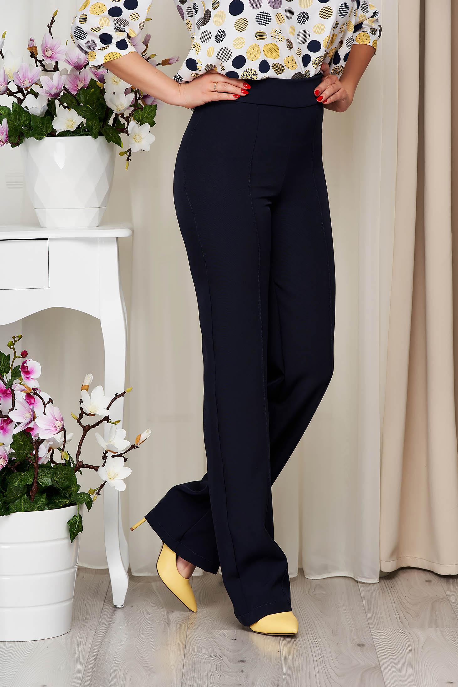 Pantaloni StarShinerS albastru-inchis eleganti lungi evazati din stofa din material elastic