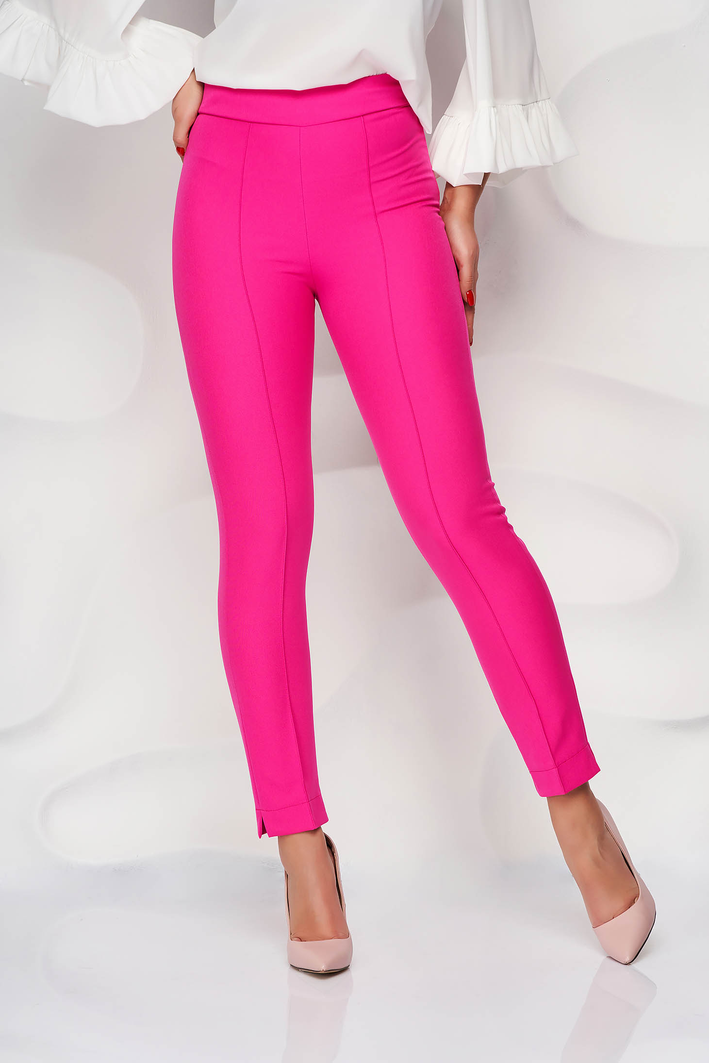 Pantaloni StarShinerS fuchsia office conici din material usor elastic cu talie inalta