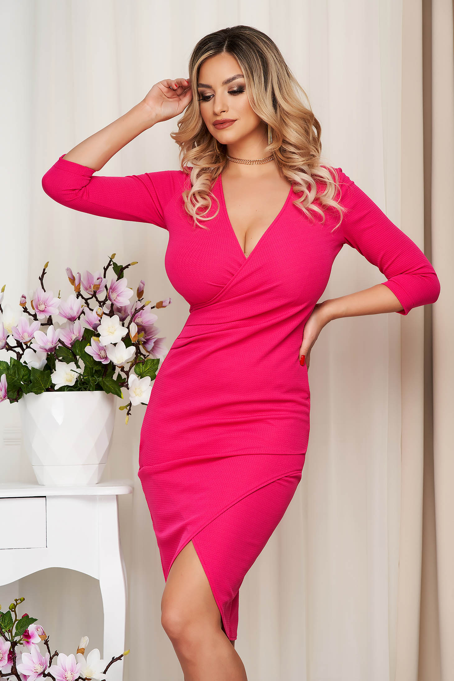 StarShinerS dress fuchsia midi pencil with v-neckline wrap over front with 3/4 sleeves from elastic fabric