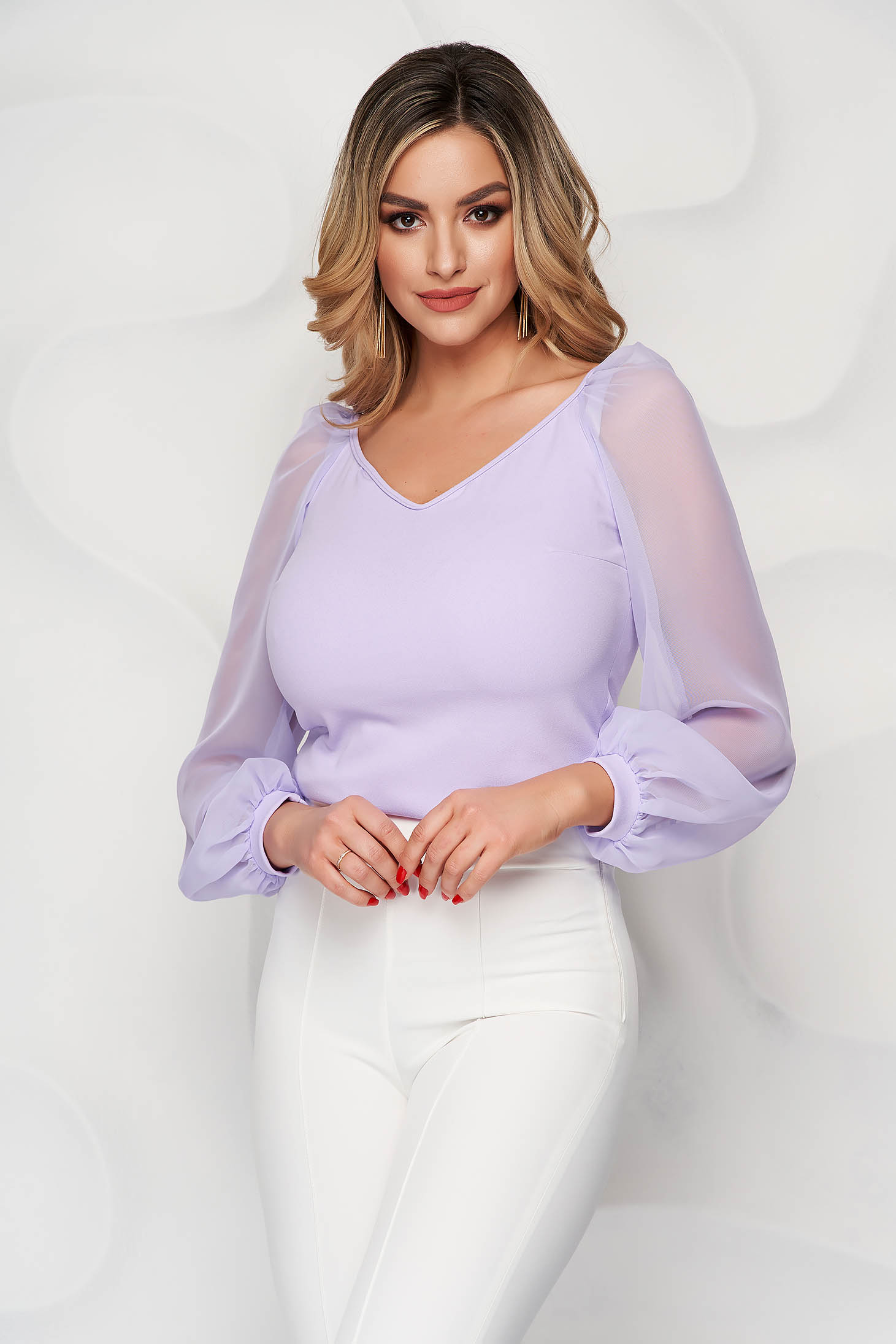 Bluza dama StarShinerS lila eleganta cu un croi mulat cu decolteu in v si maneci transparente
