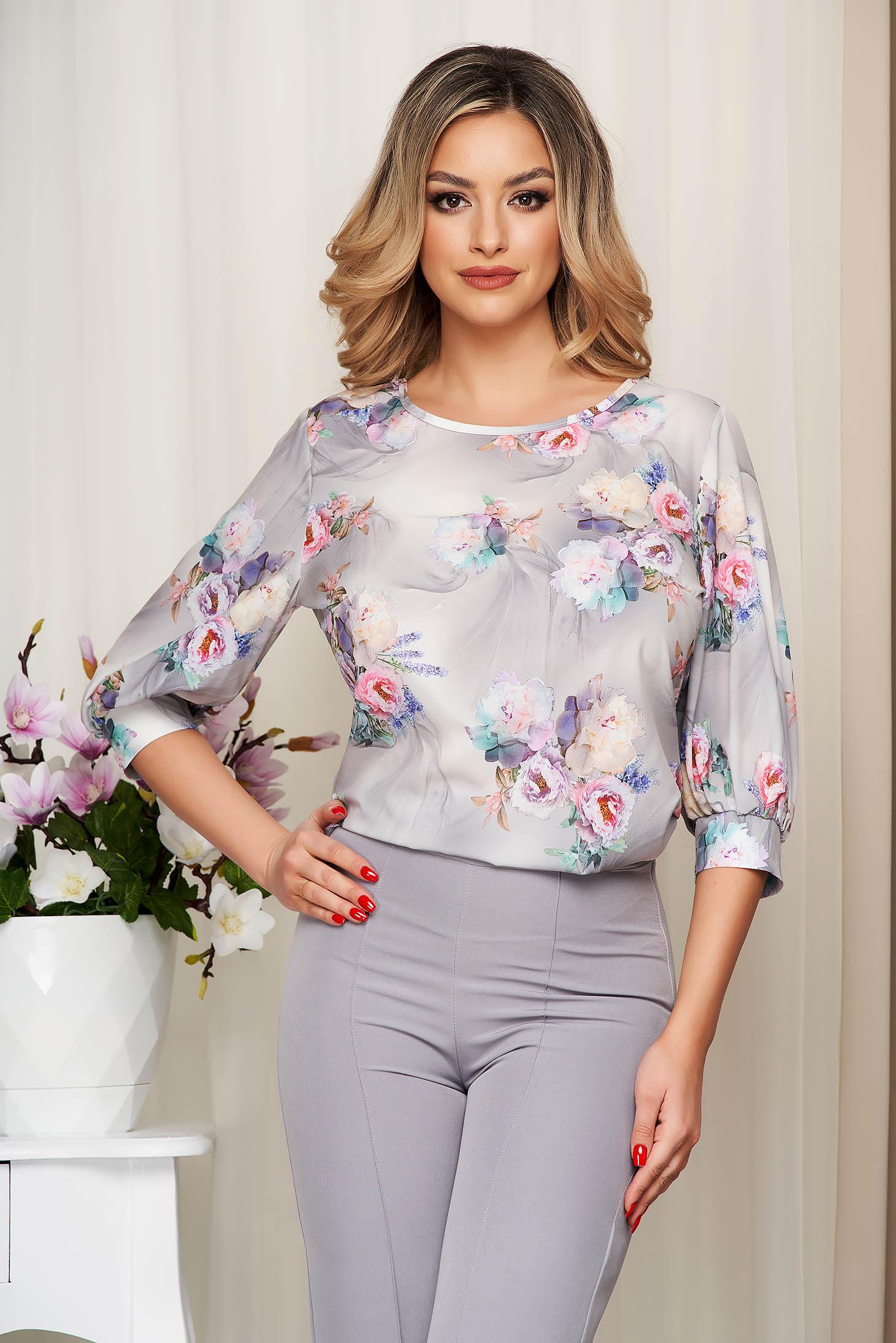 Bluza dama StarShinerS gri cu imprimeu floral din material soft cu croi larg