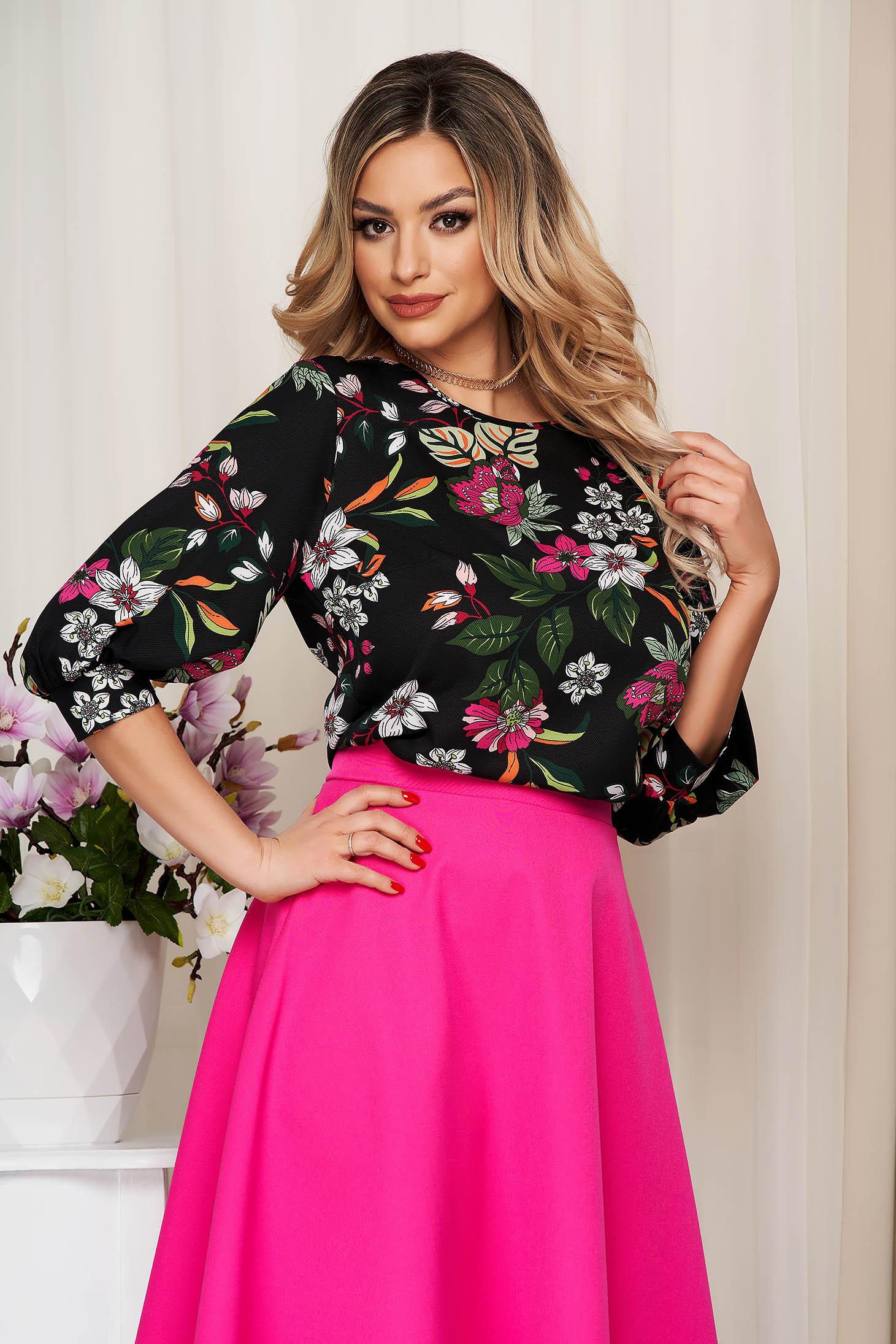 Bluza dama StarShinerS neagra cu imprimeu floral cu croi larg