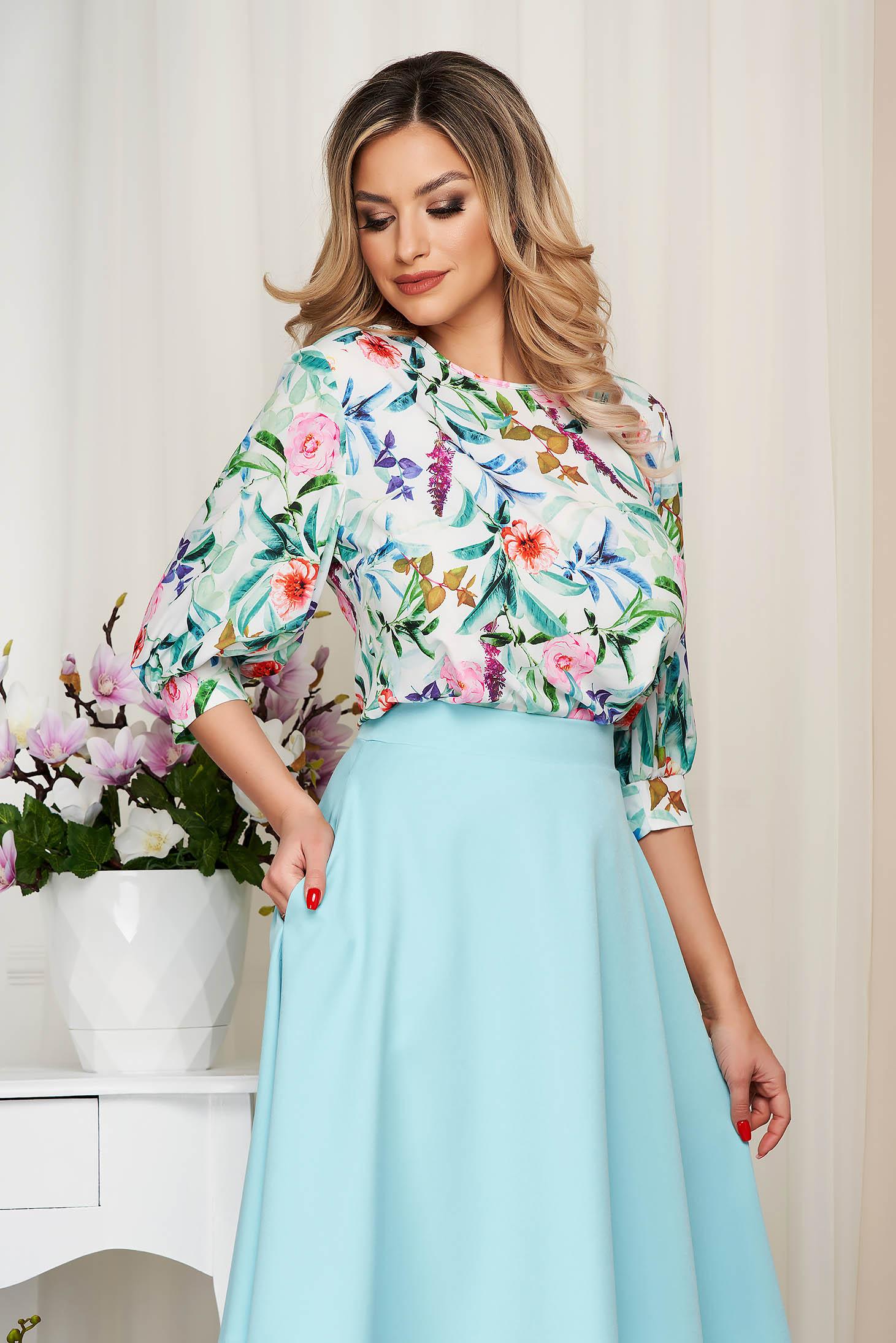Bluza dama StarShinerS alba office cu croi larg din material fluid si neelastic cu imprimeu floral
