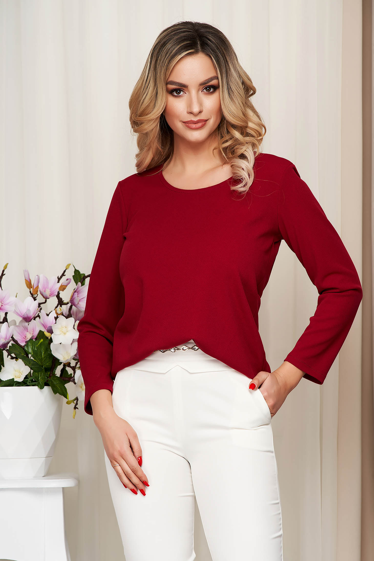 Women`s blouse burgundy StarShinerS loose fit from elastic fabric with rounded cleavage