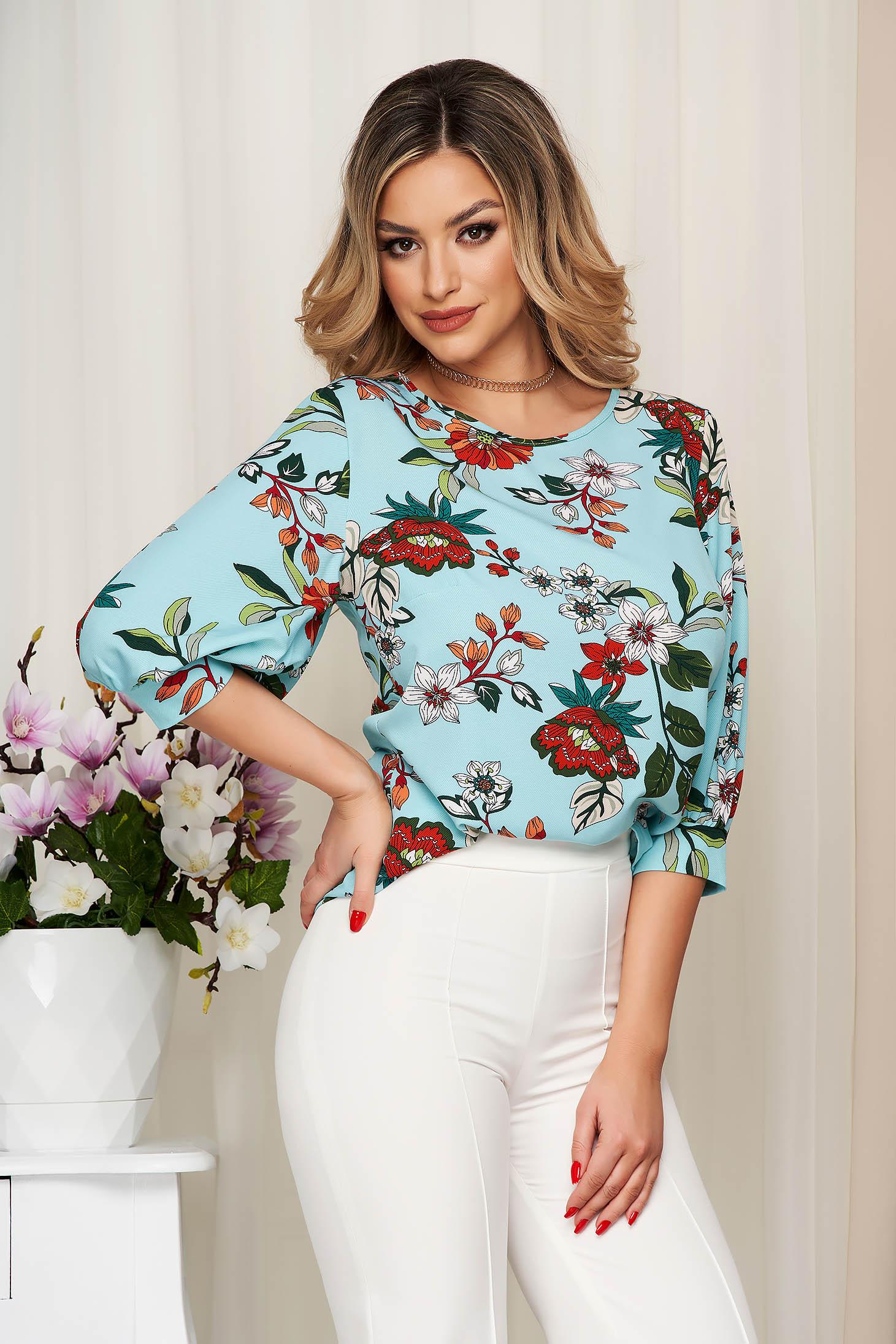 Women`s blouse StarShinerS aqua loose fit