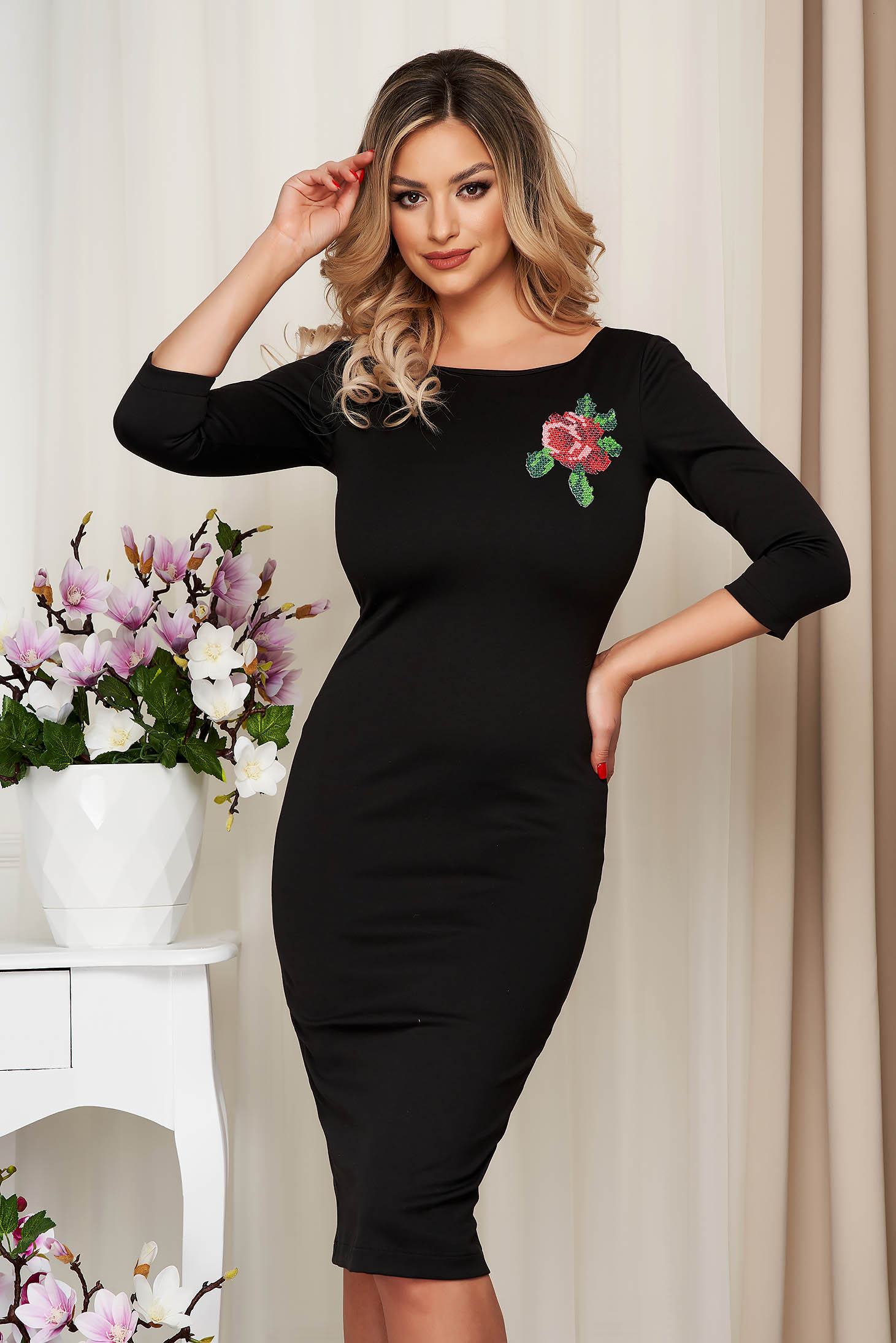 StarShinerS black elegant embroidered pencil dress flexible thin fabric/cloth with 3/4 sleeves