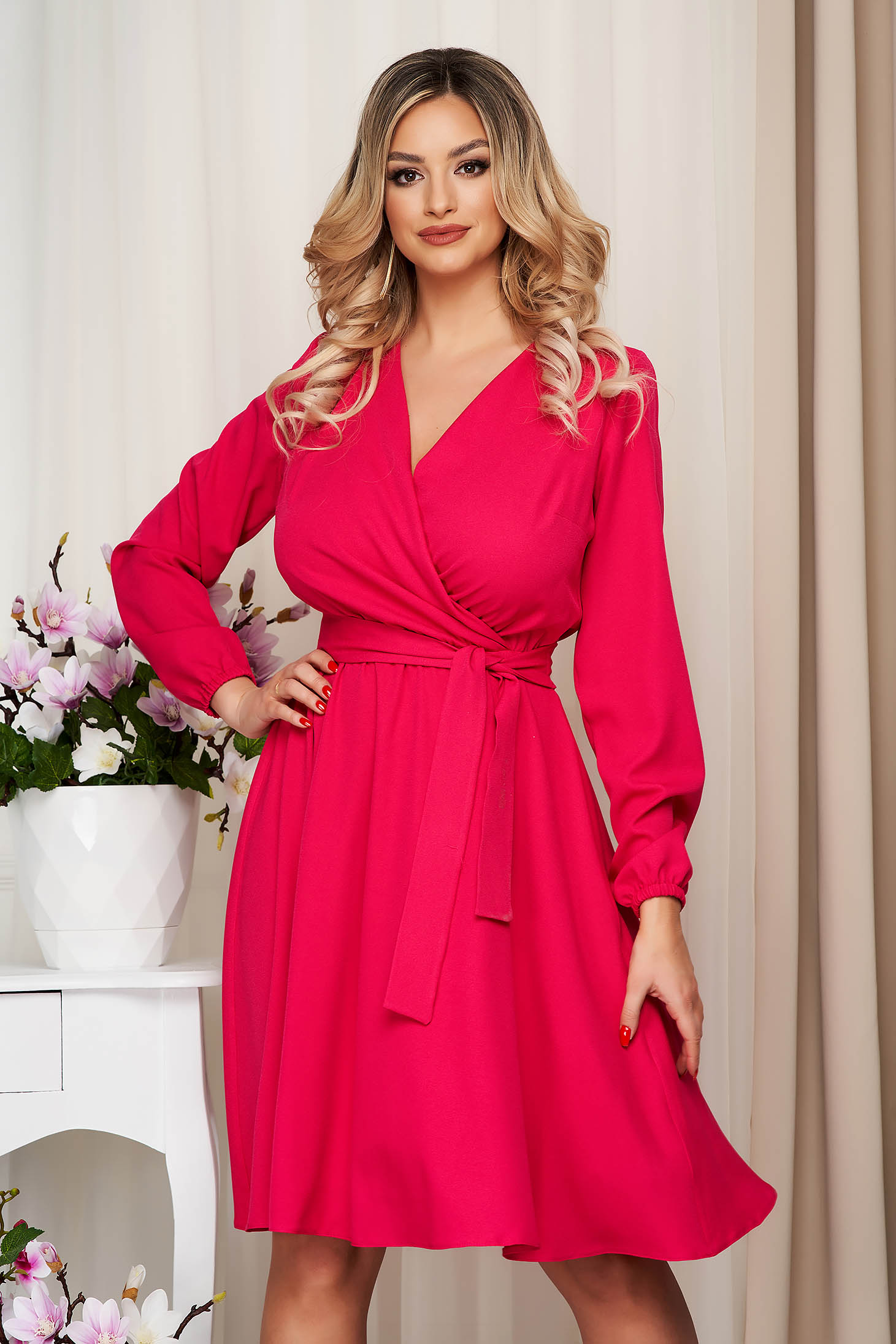 Dress StarShinerS fuchsia midi cloche with elastic waist wrap over front with inside lining