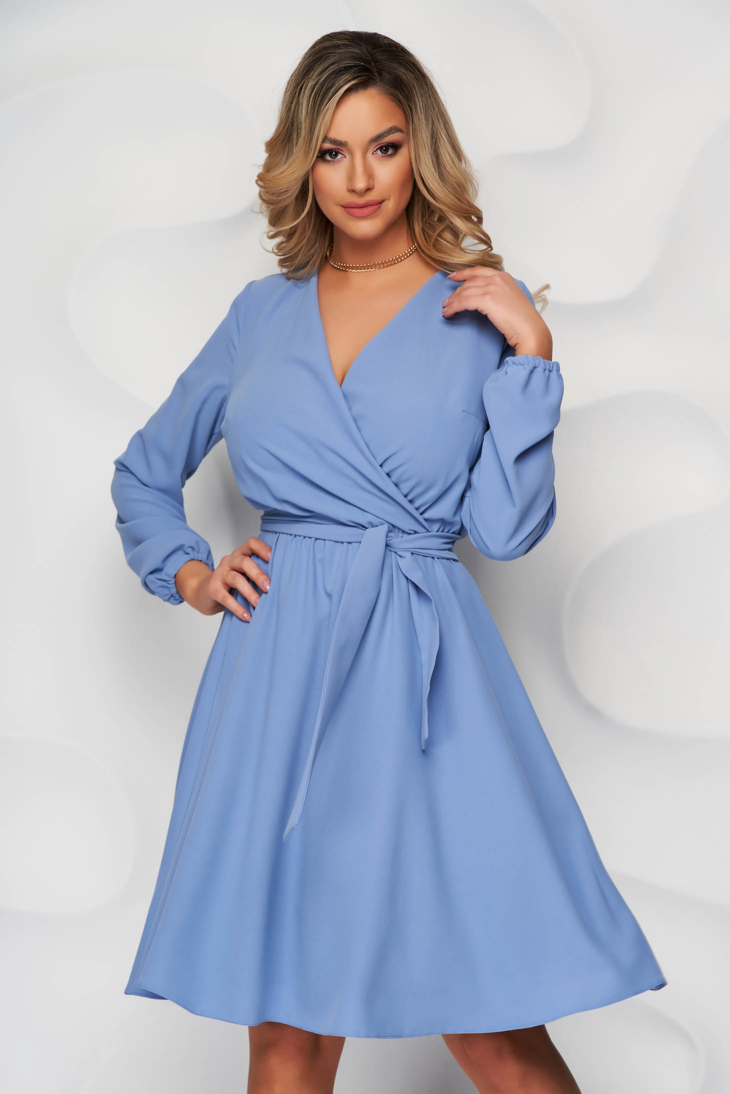 Dress StarShinerS blue midi cloche with elastic waist wrap over front with inside lining
