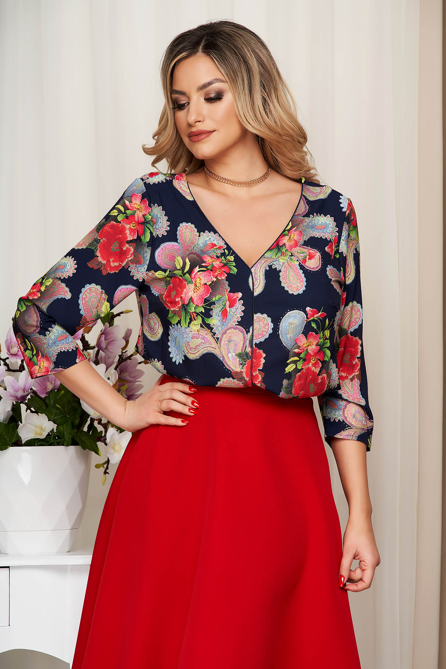 Women`s blouse red with floral print v back neckline thin fabric