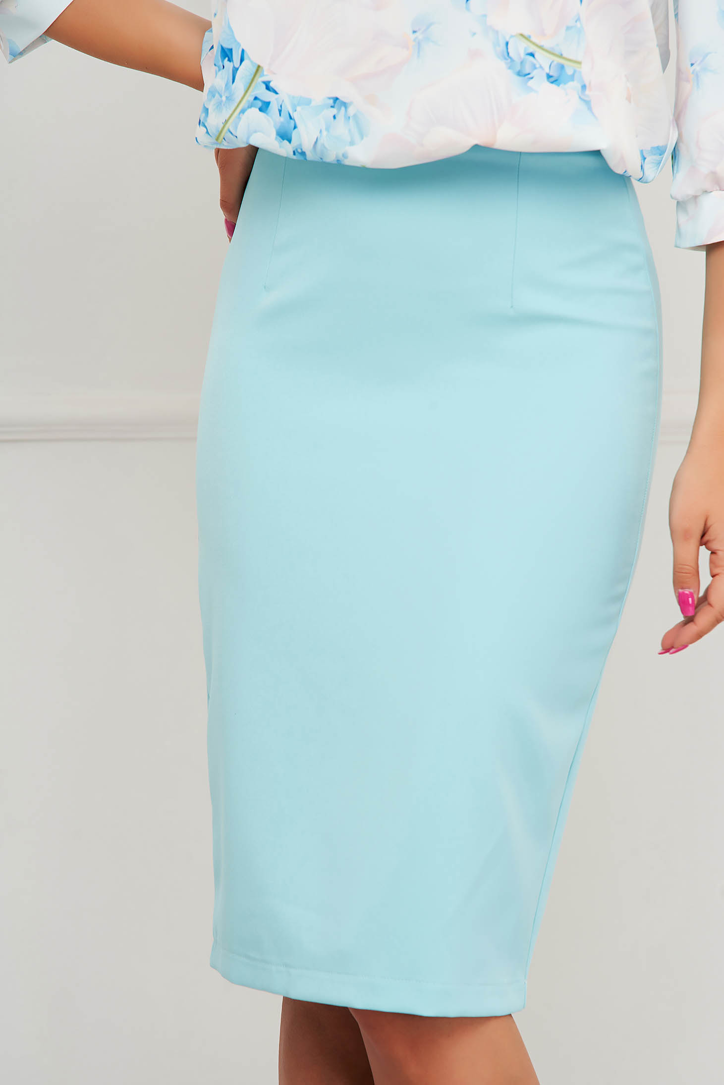Fusta StarShinerS albastru aqua office midi tip creion din stofa elastica cu talie inalta