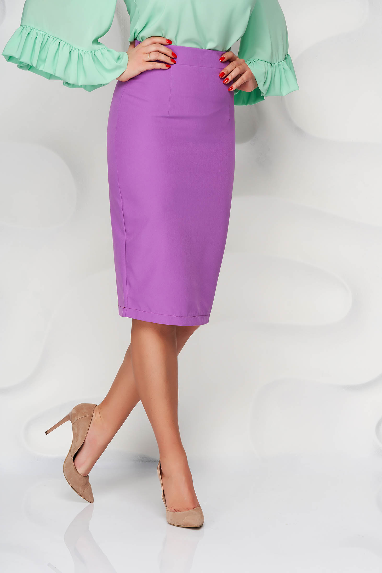 StarShinerS purple high waisted skirt office pencil cloth midi from elastic fabric
