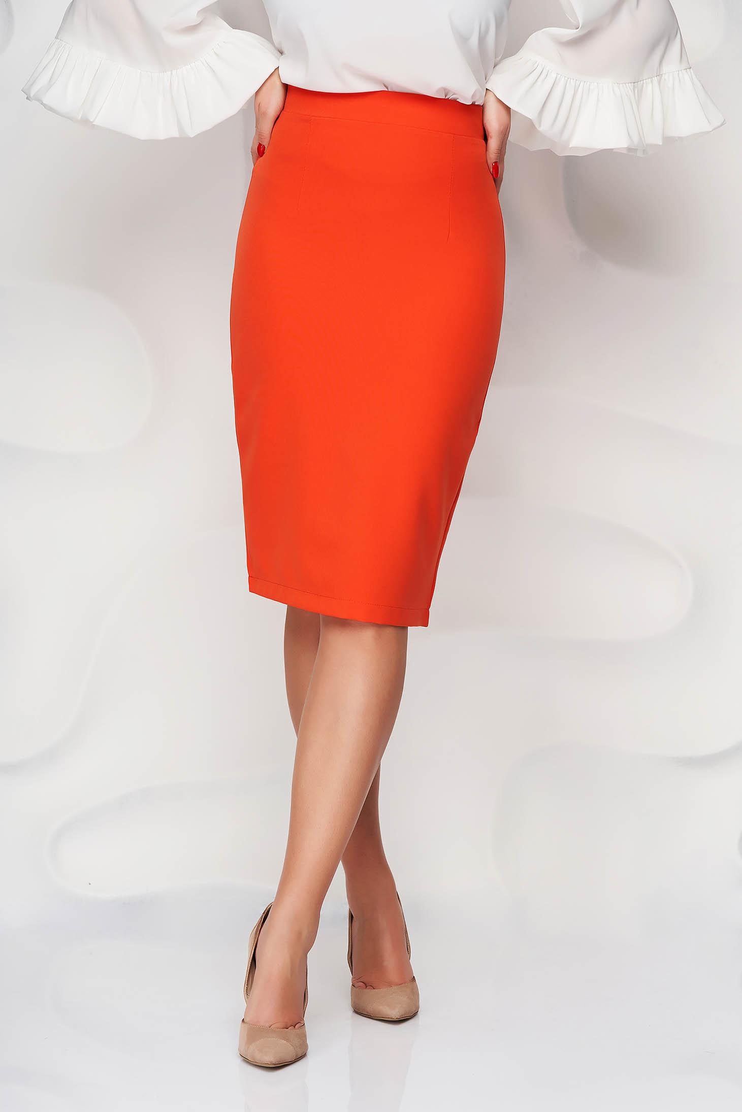 Fusta StarShinerS portocalie office midi tip creion din stofa elastica cu talie inalta